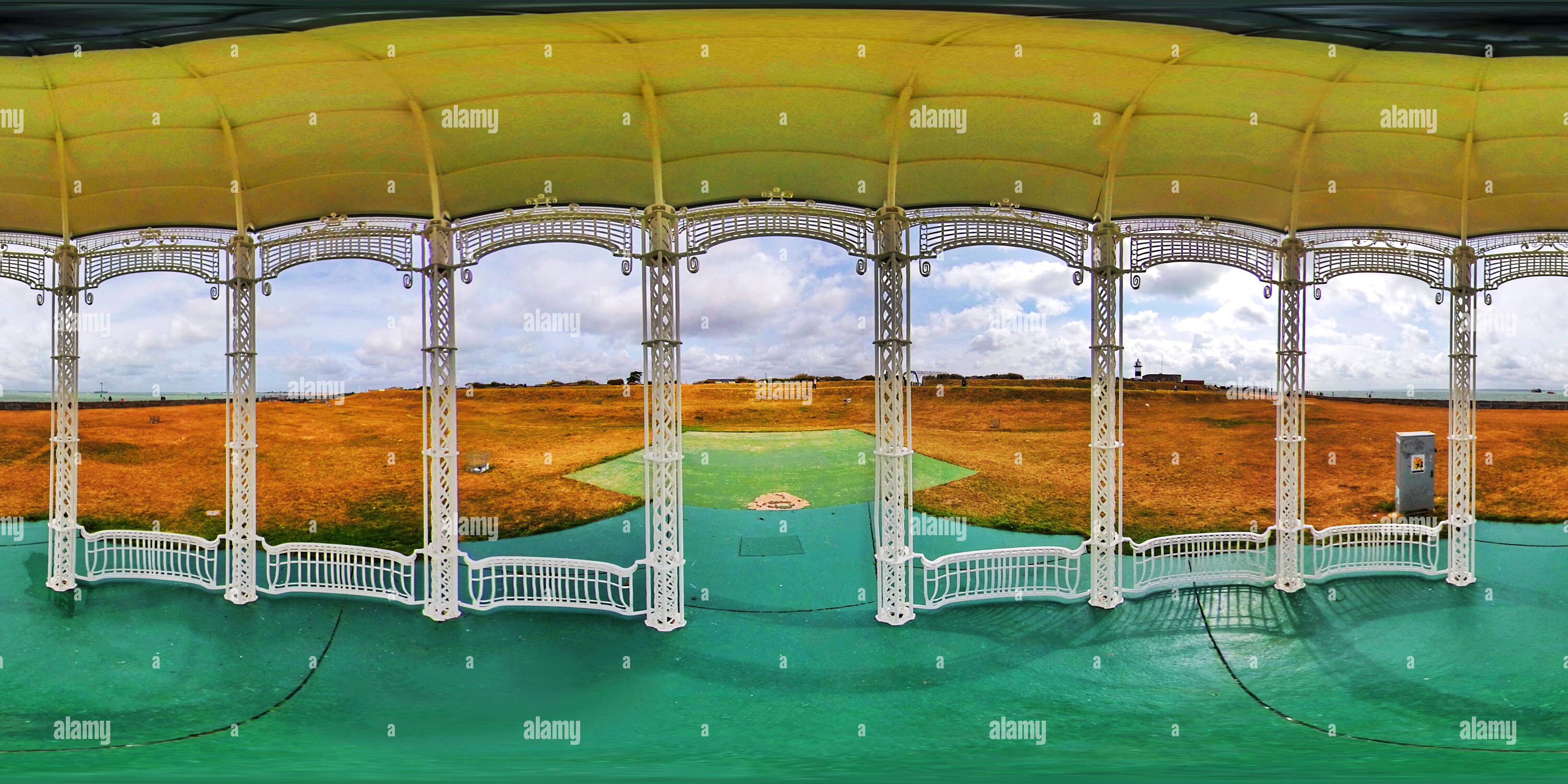 360 degree panoramic view of Historic traditional Bandstand on the seafront in Southsea, Hampshire, Portsmouth, United Kingdom (360VR)