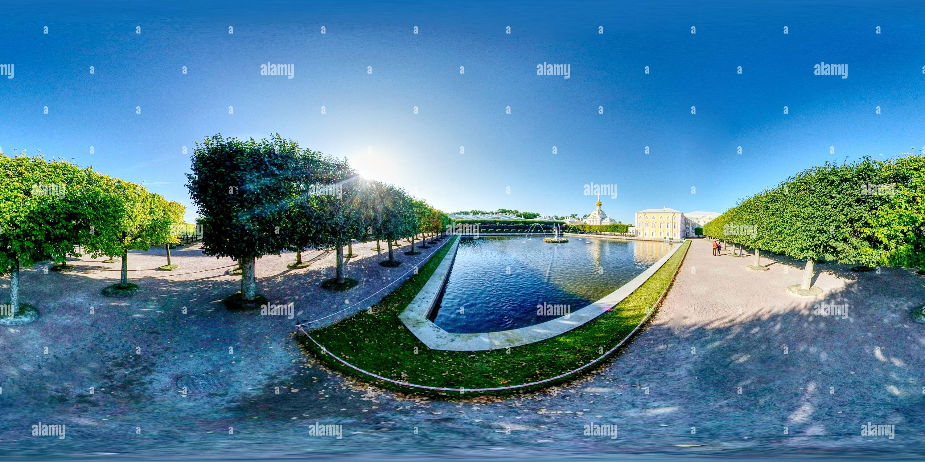 360 degree panoramic view of Beautiful landscape. Upper Garden and Grand Palace. XVIII century baroque architecture. UNESCO heritage. Peterhof Petrodvorets Russia