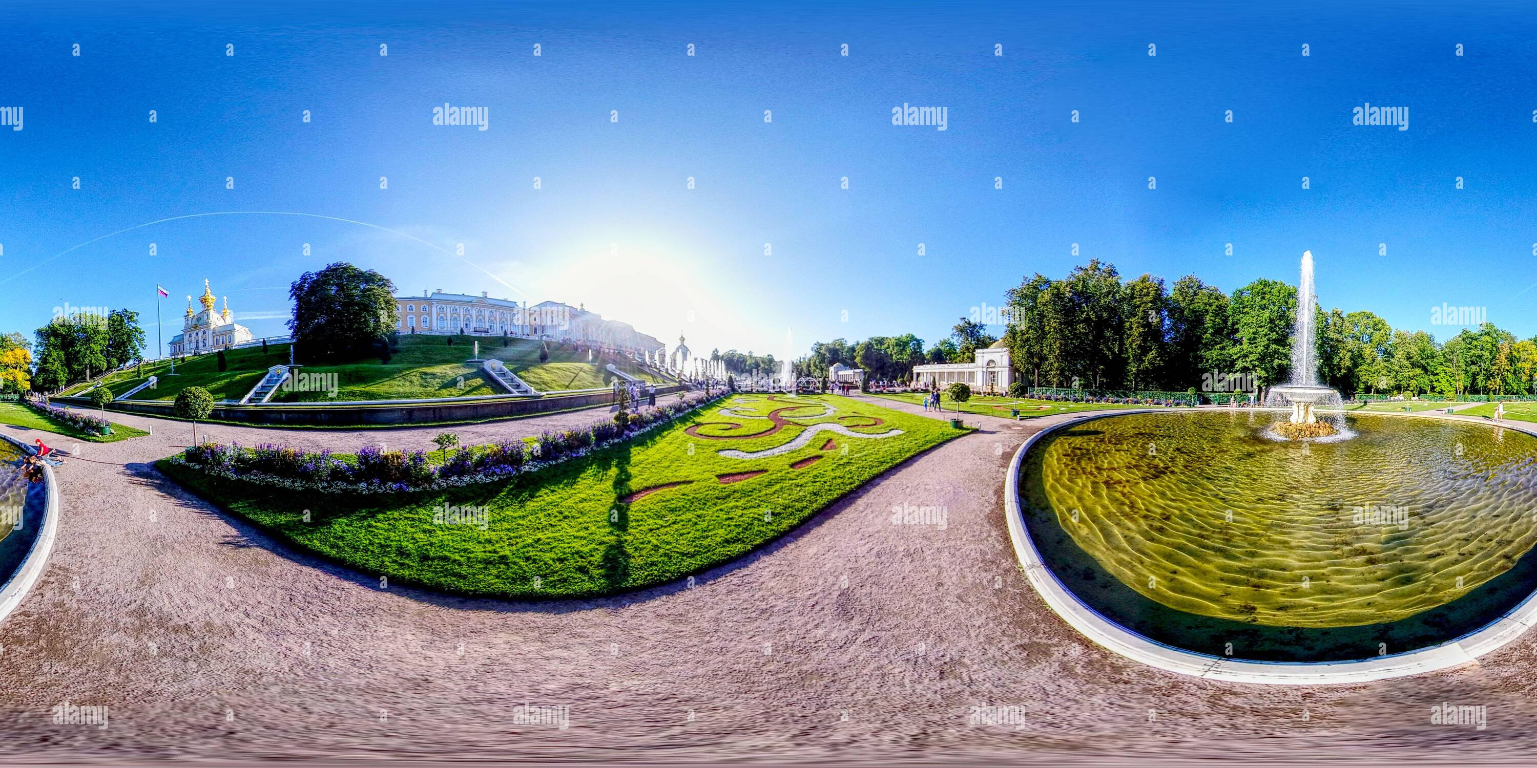 360 degree panoramic view of Marble ponds , fountains and cascade.Down Park and Grand Palace. XVIII century baroque architecture. UNESCO heritage. Peterhof Petrodvorets Russia