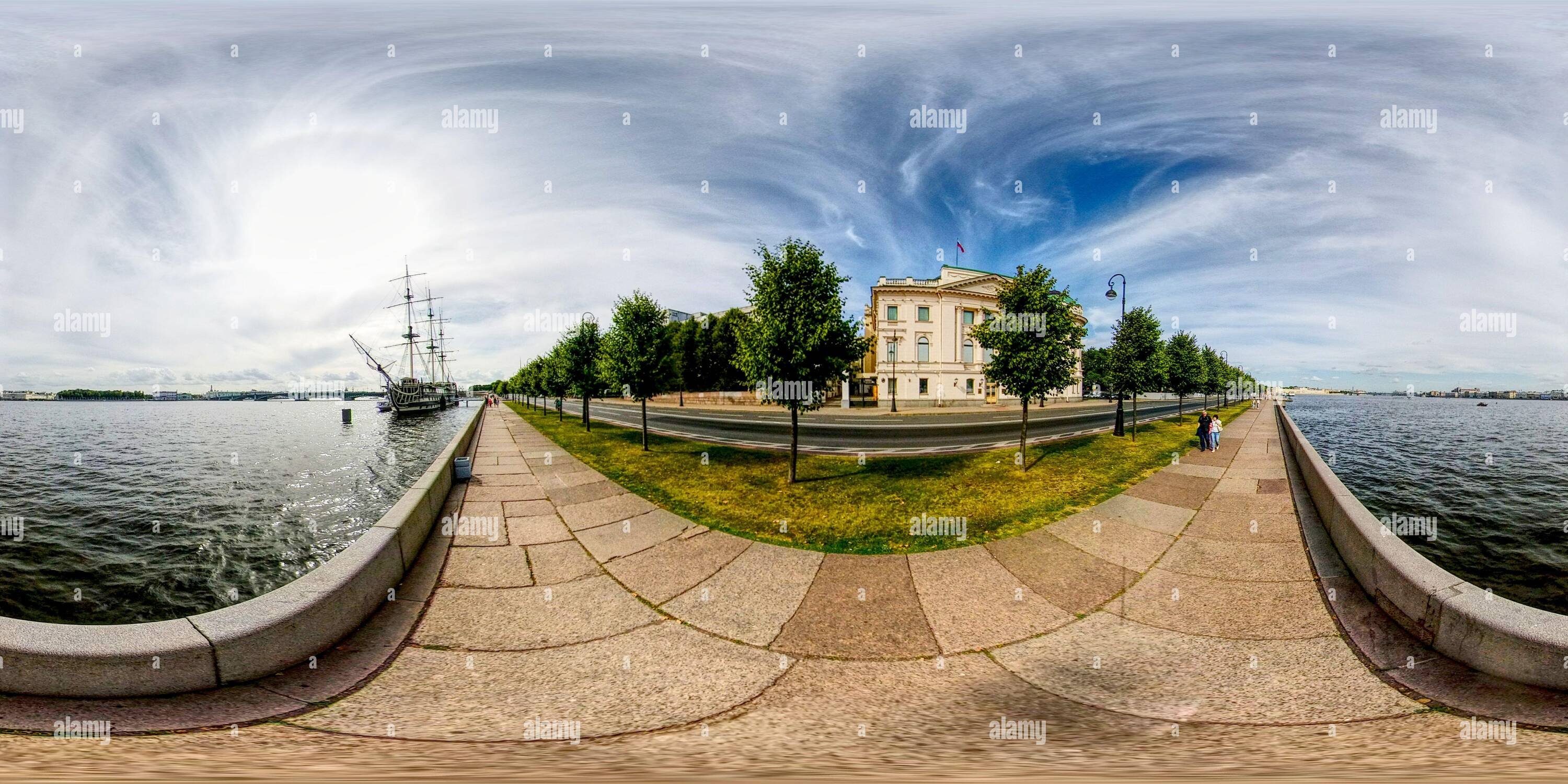 360 degree panoramic view of Neva river granite embankment and bridges. Boat and ship. Classical view of old  down town. St. Petersburg Russia