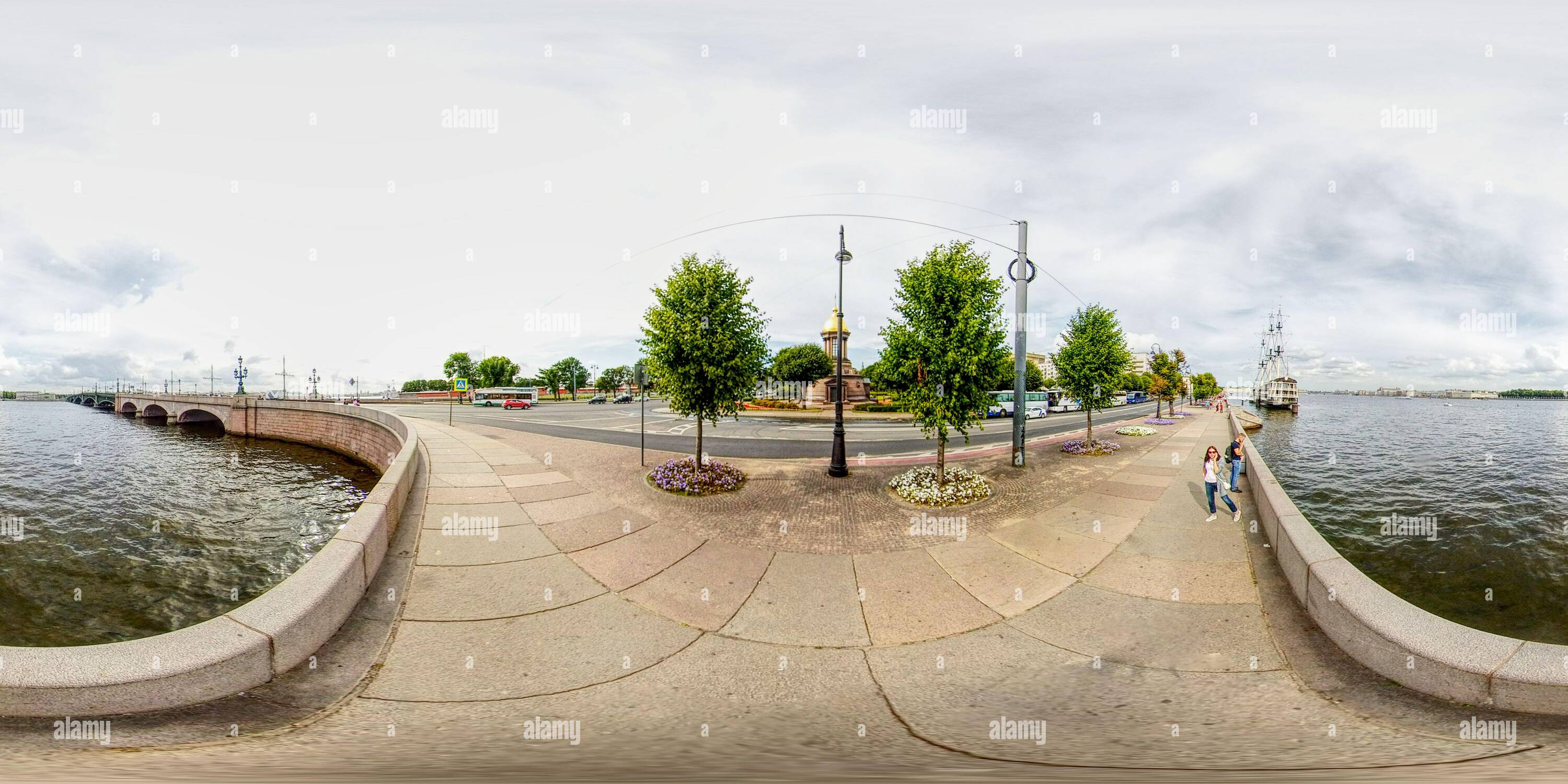360 degree panoramic view of Neva river granite embankment and bridges. Old sail ship.. Classical view of old  down town. St. Petersburg Russia
