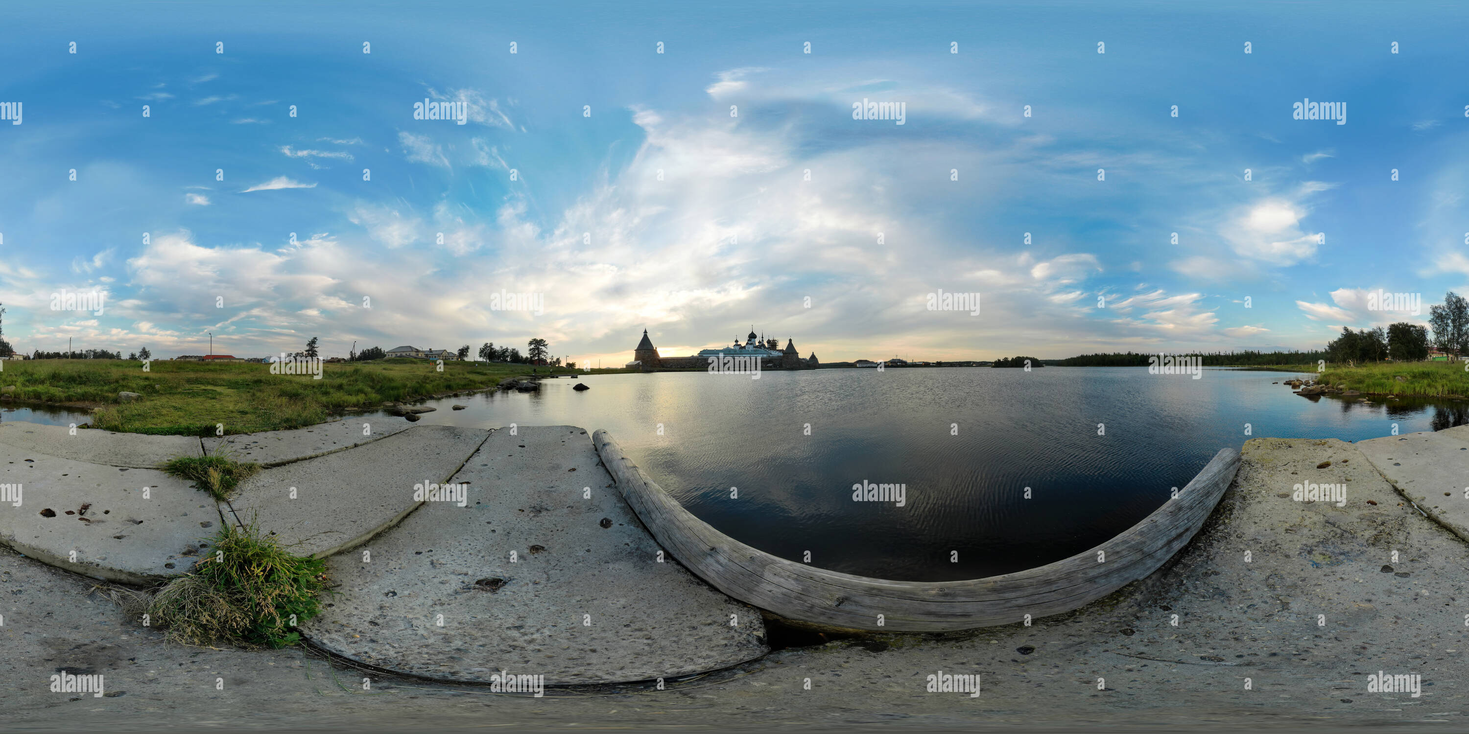 360 degree panoramic view of Solovki,Solovetsky monastery view from holy-lake ,lies to the east of the Solovetsky monastery ,Solovetsky Archipelago ,Solovki  , White Sea, Arkhangelsk Region