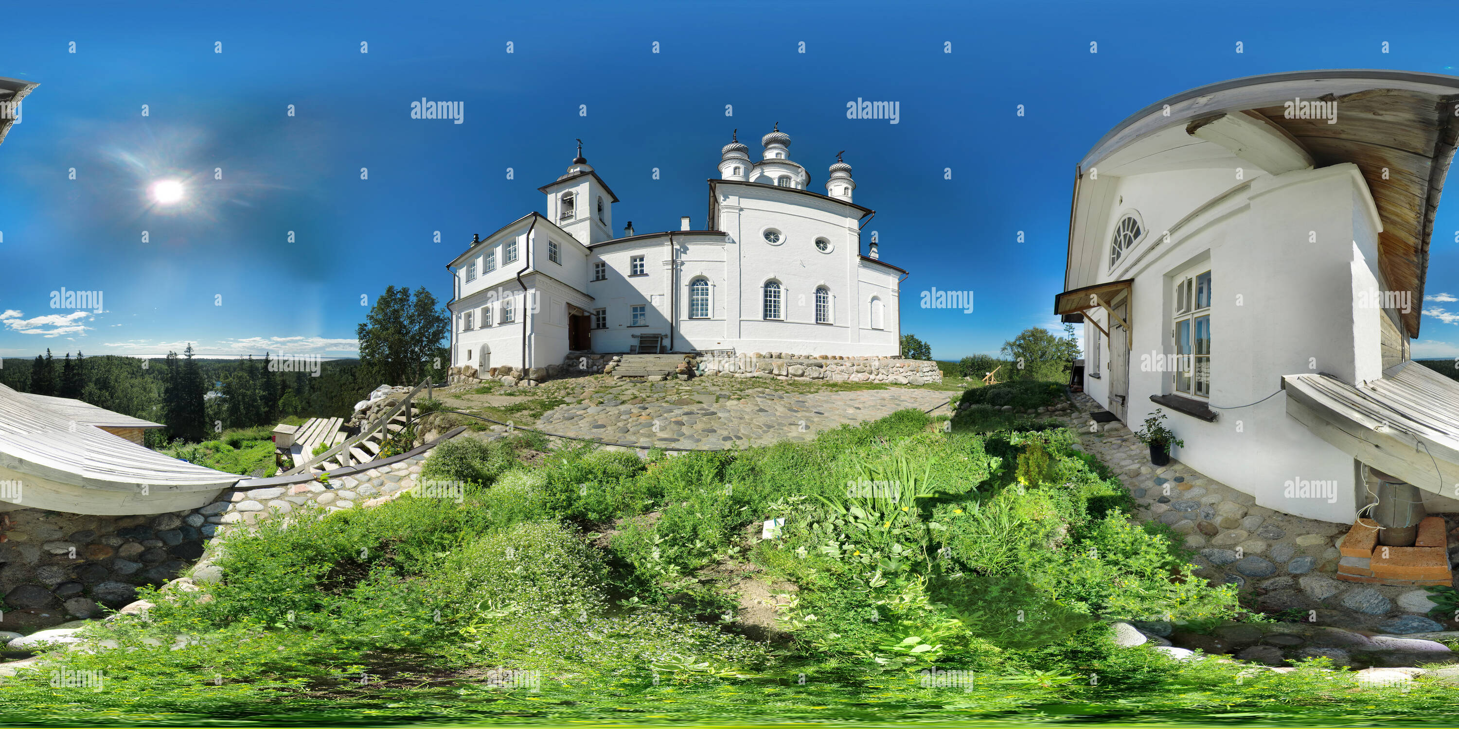 360 degree panoramic view of Solovetsky monastery ,Anzer ,Skete of the Golgotha Crucifixion ,Solovetsky Archipelago (Solovki) in the White Sea