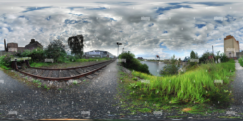 Krefeld Uerdingen near swing bridge up - Stock Image