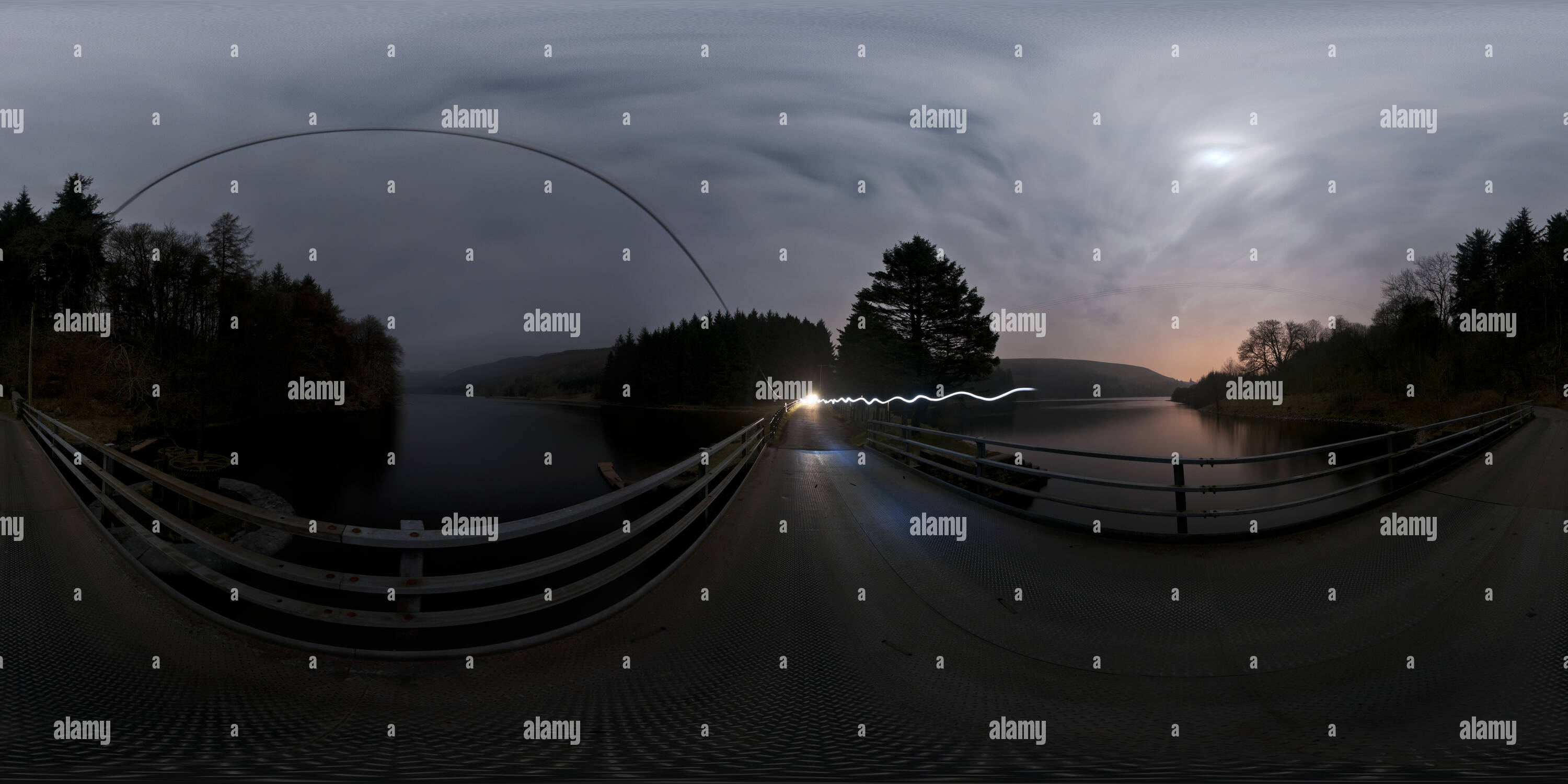 360 degree panoramic view of Pontsticill & Pentwyn Reservoirs