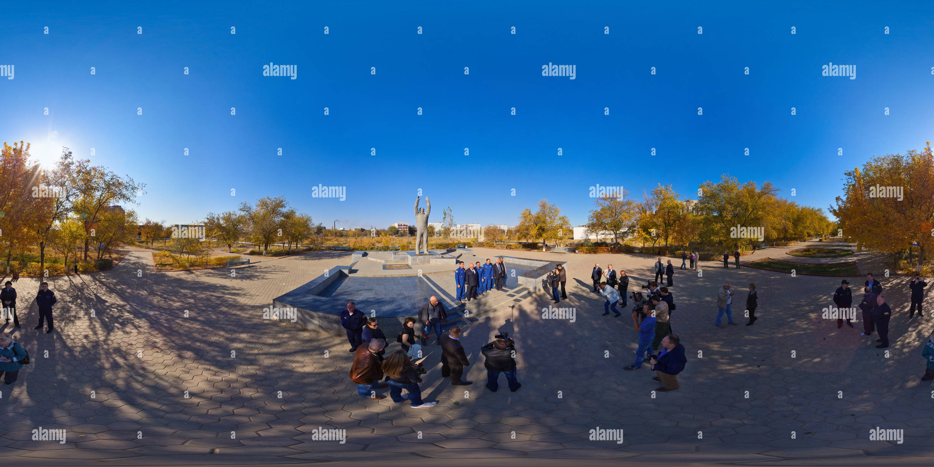 In front of the Monument to Yuri Gagarin - Stock Image
