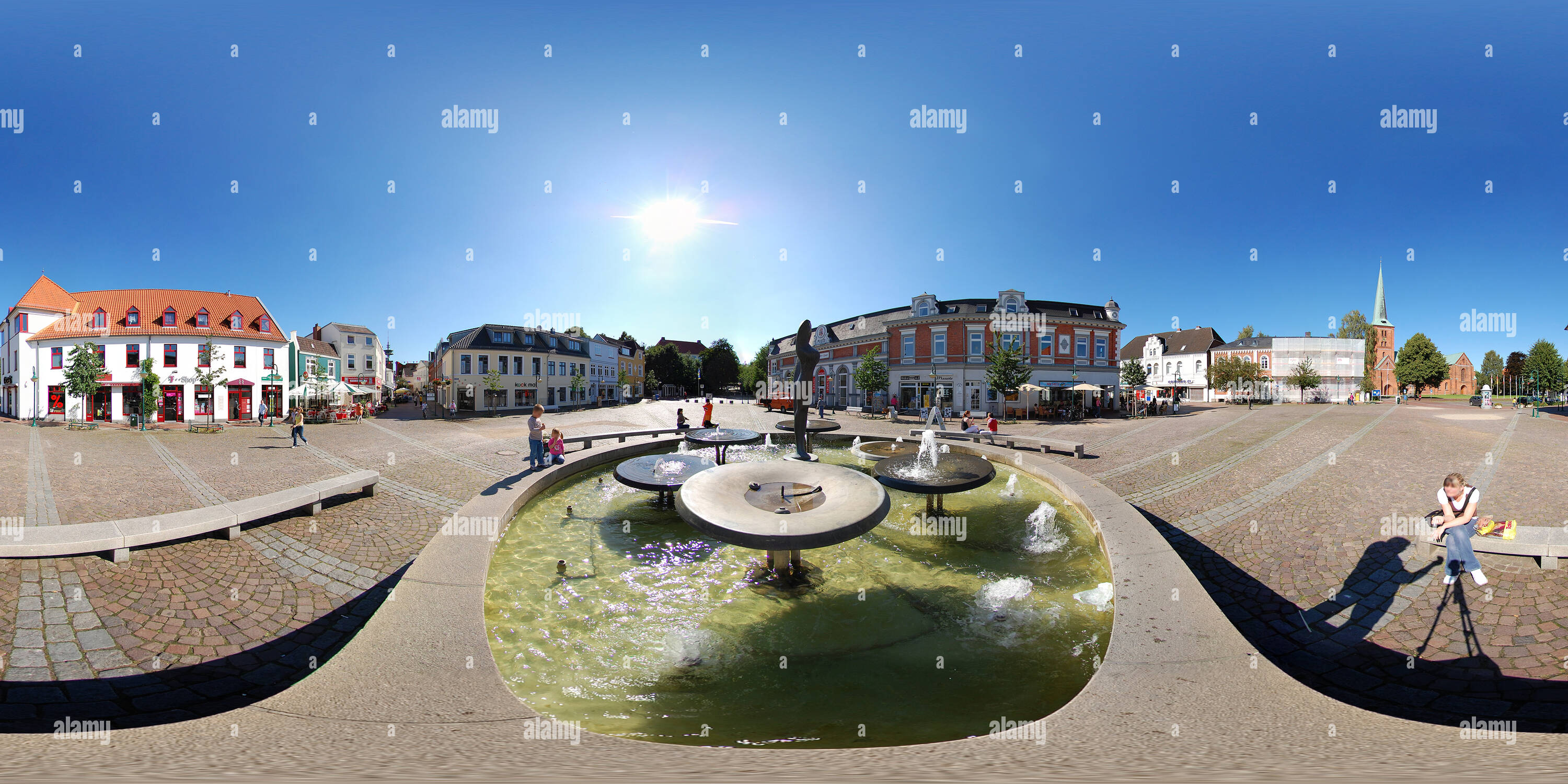 Bad Segeberg, Germany, market place with fountain - Stock Image