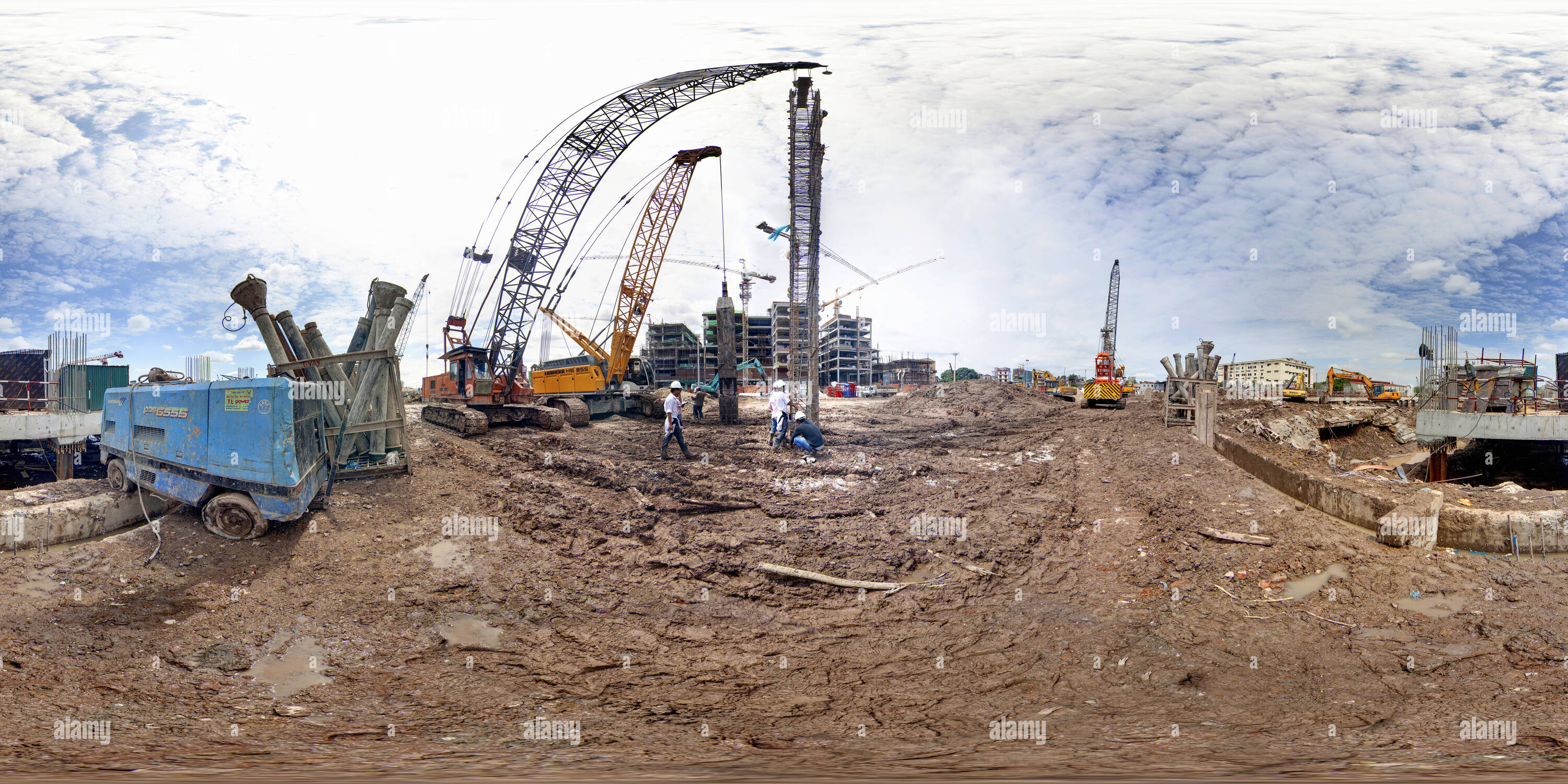 360 degree panoramic view of Construction site of a new hospital in Hanoi 2
