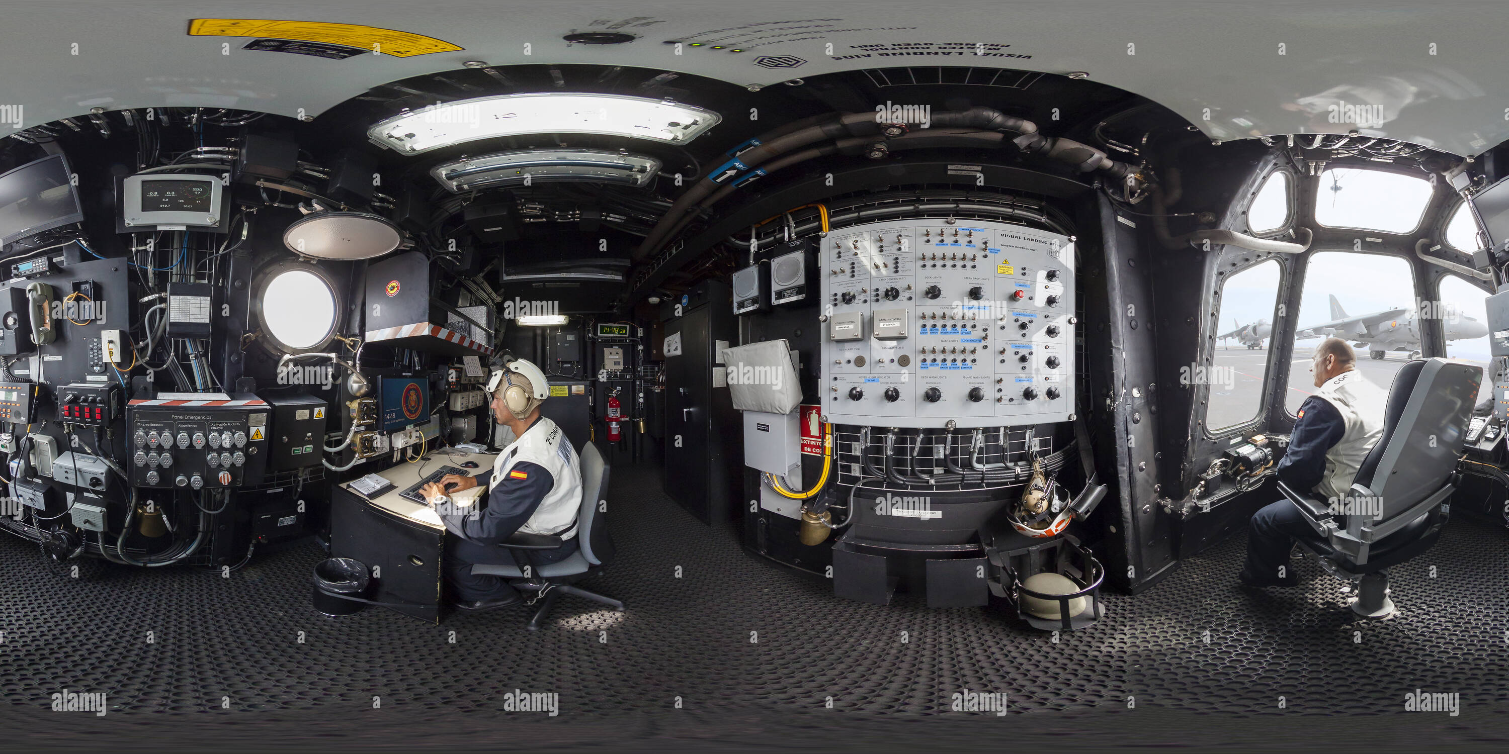 """360 degree panoramic view of Aircrafts secundary control in The spanish amphibious ship aircraft carrier """"Juan Carlos I"""""""