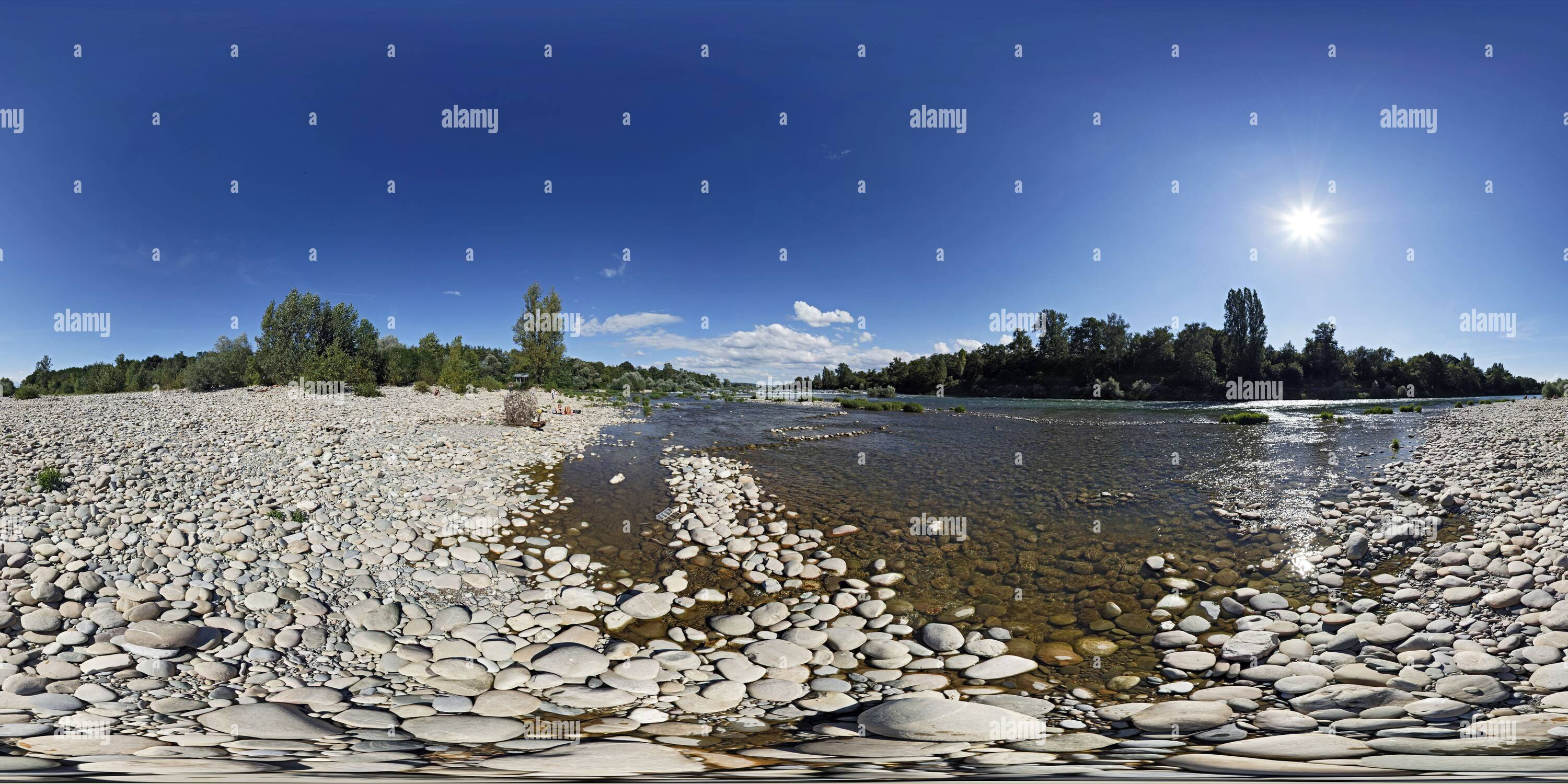 360 degree panoramic view of Istein Rapids, Upper Rhine Valley, View 3