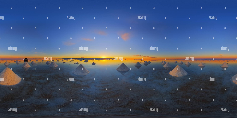 360 degree panoramic view of Piles of salt at sunrise