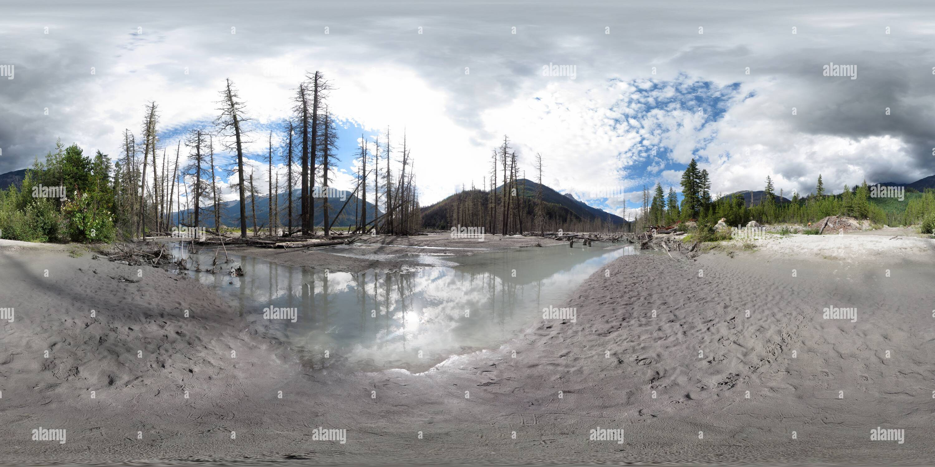 360 degree panoramic view of Meager Creek FSR Road (ruins)