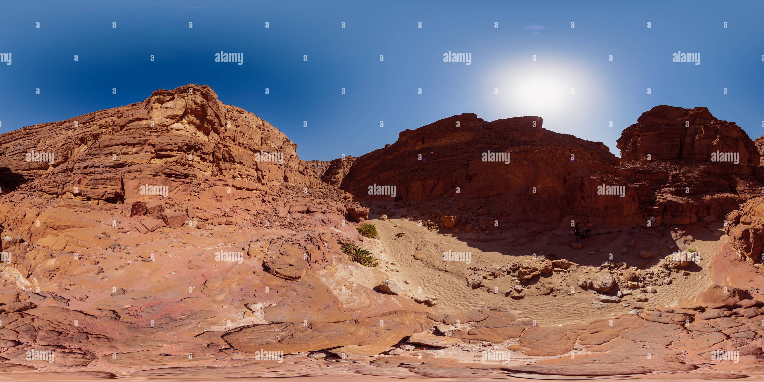 Colored canyon entrance valley - Stock Image