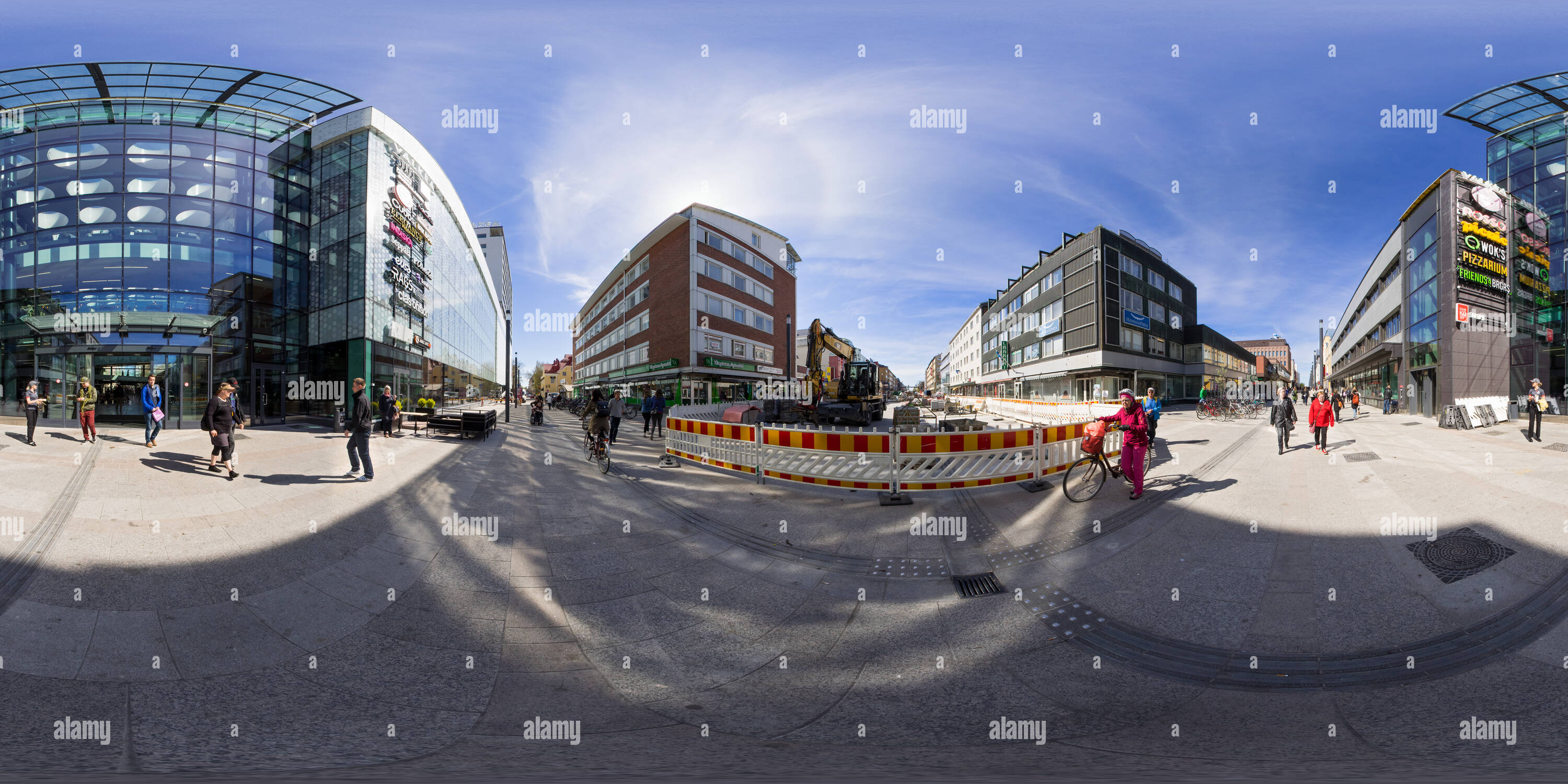 360 degree panoramic view of Street in front of the shopping centre Valkea in Oulu, Finland