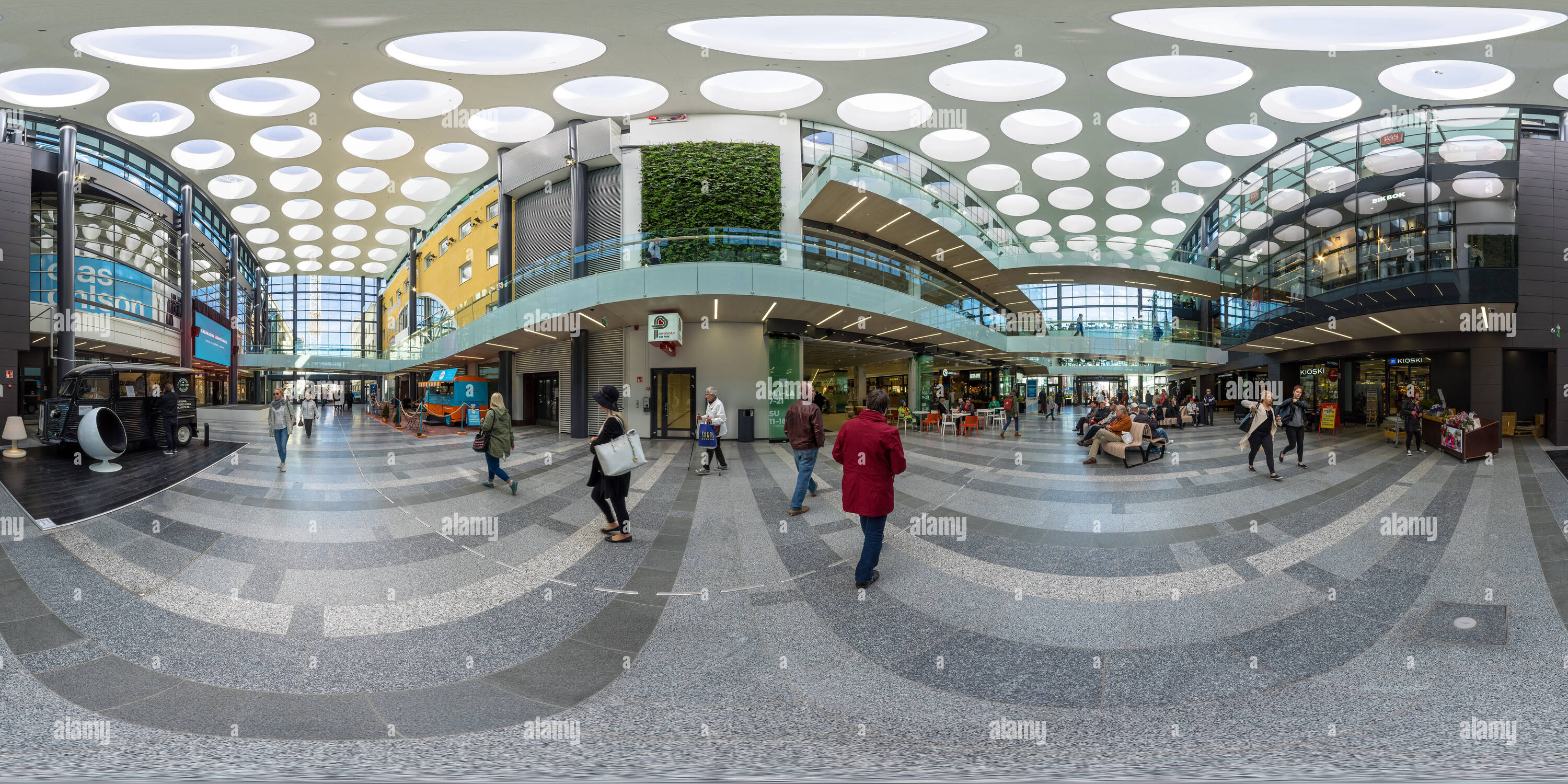 360 degree panoramic view of Inside shopping centre Valkea in Oulu, Finland