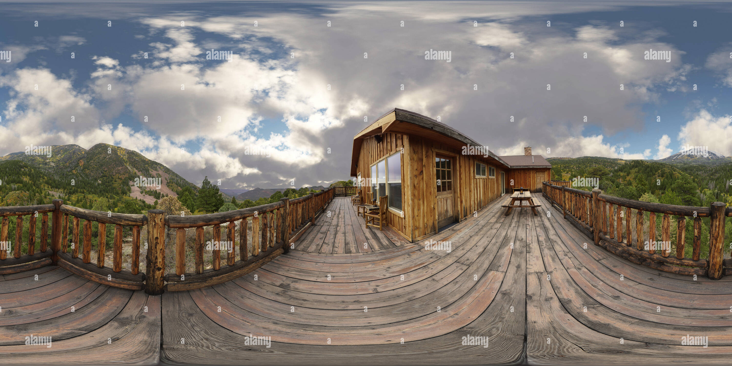 360 View of VR 360 Spherical Panorama of from the porch of a remote