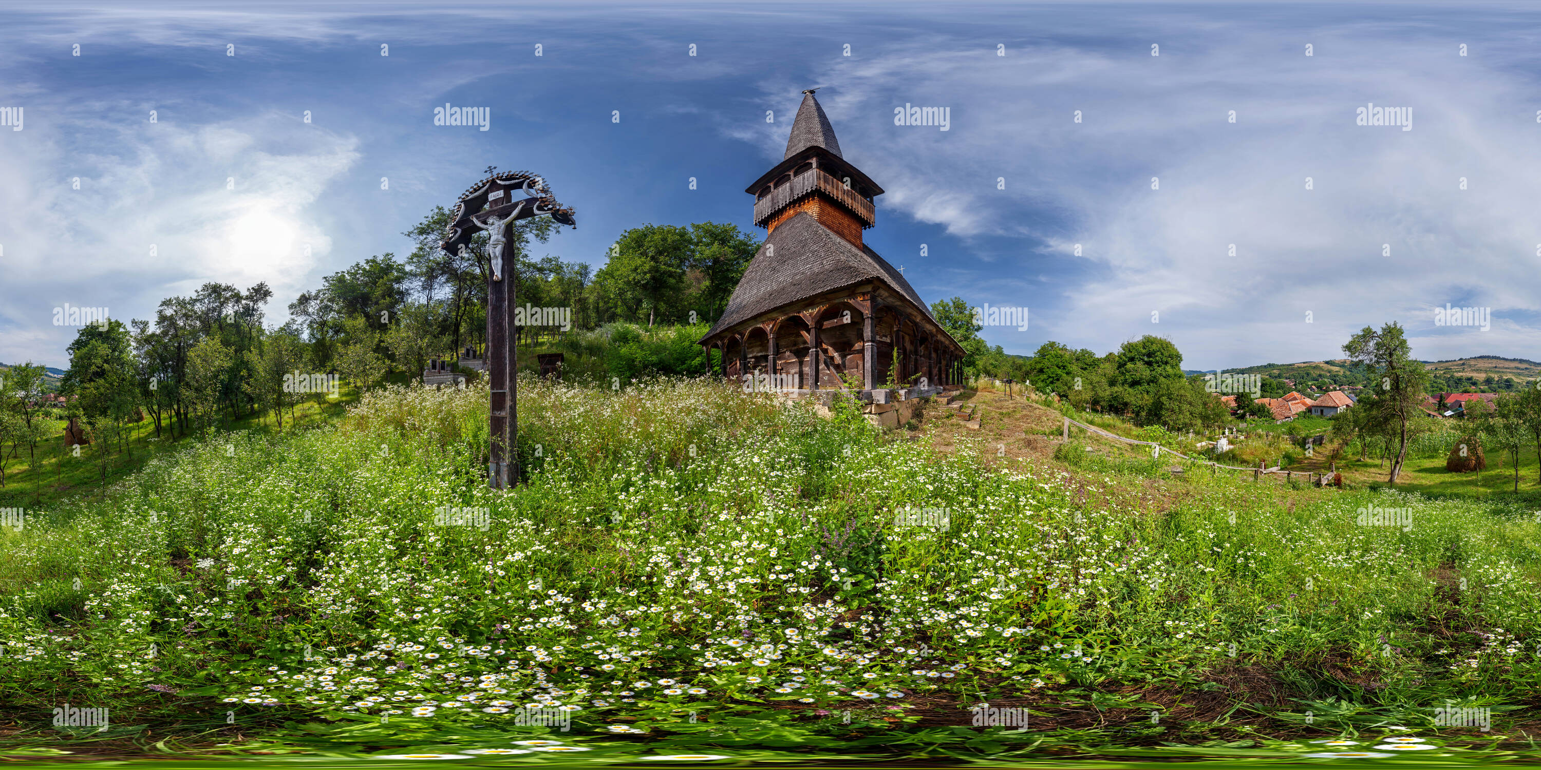 The wooden church St. Archangels Mihail and Gavril - Voivodeni - Stock Image