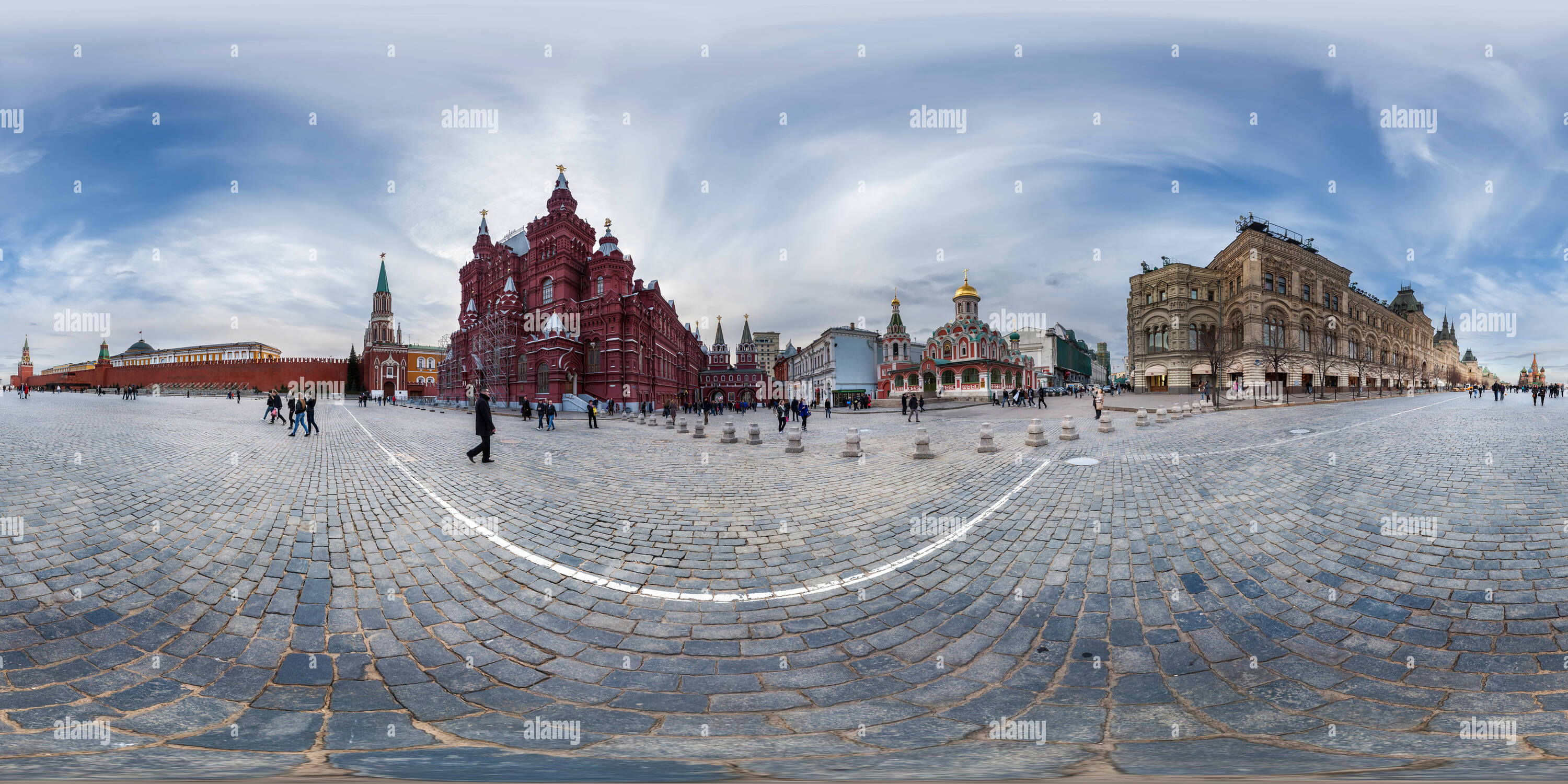 State Museum and Kazan Cathedral on Red Square - Moscow - Stock Image