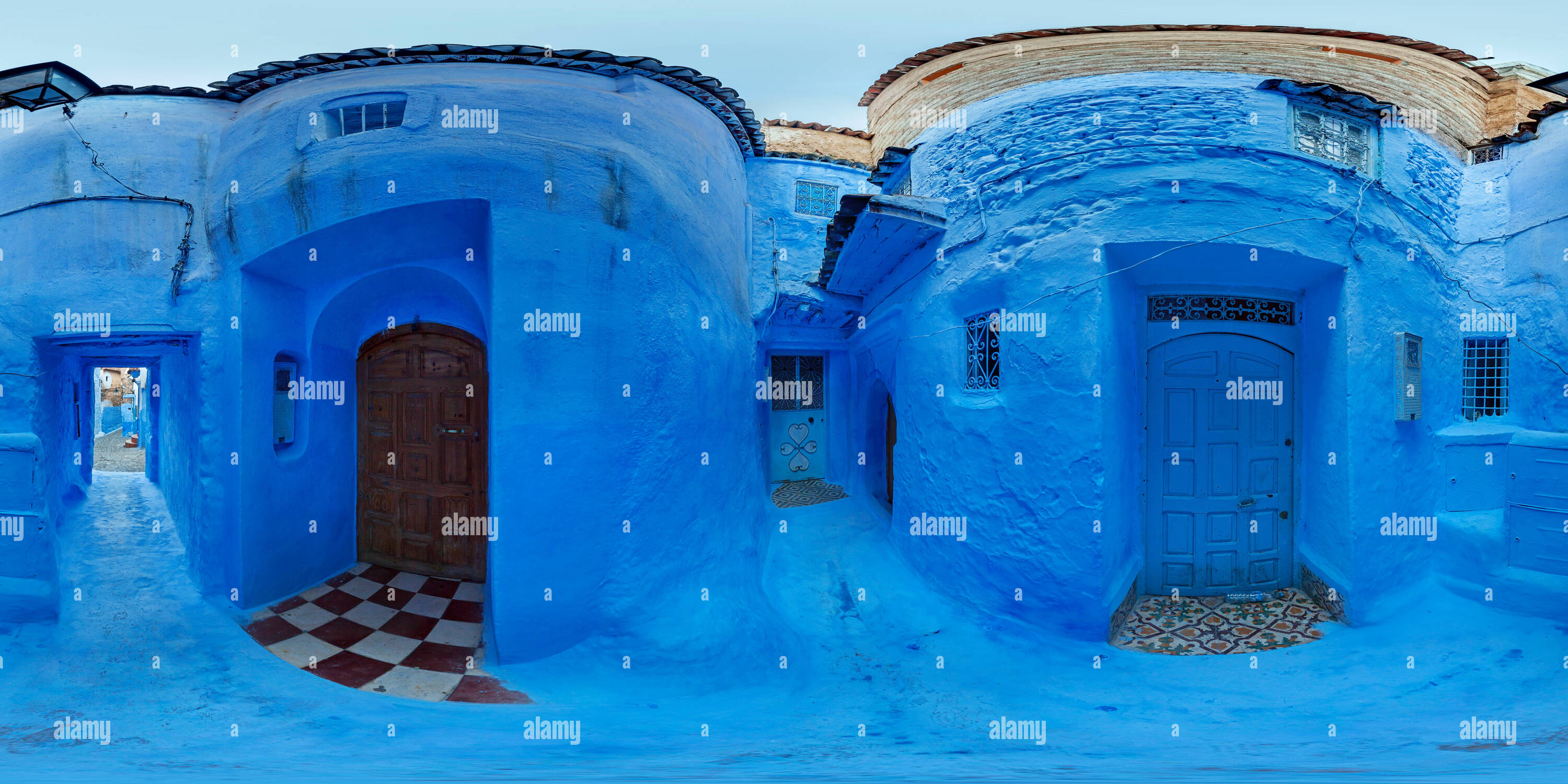 Blue entrance doors - Chefchaouen - Stock Image