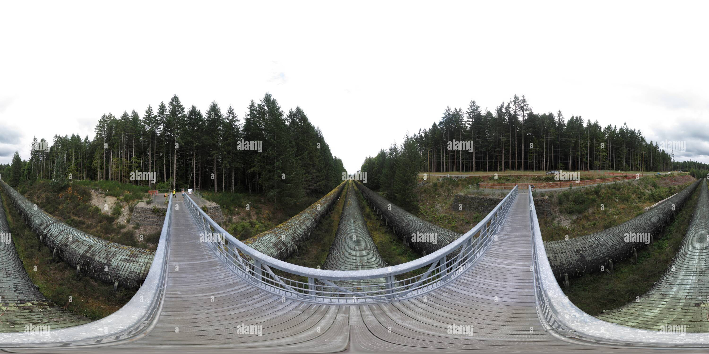 John Hart Lake wood stave pipelines - Stock Image