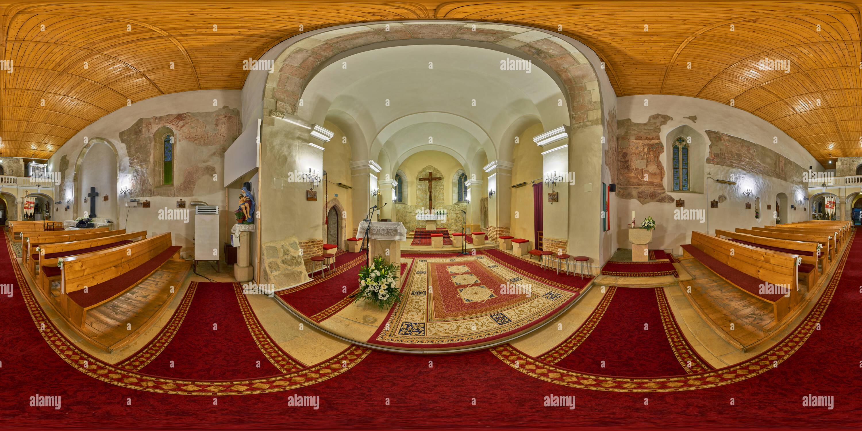 All Hallows Roman Catholic Church Interior in Florești, Romania - Stock Image