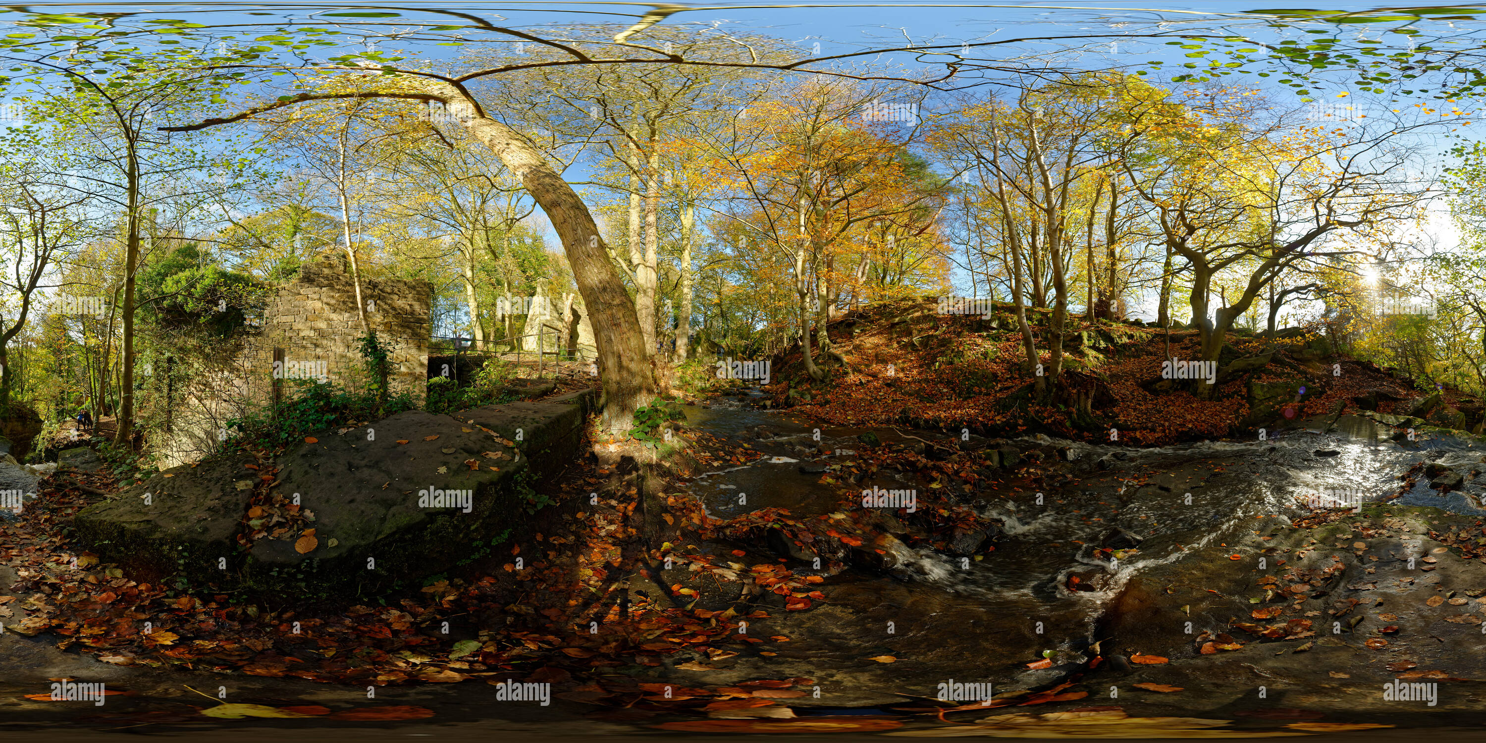 Spherical panorama of Lumsdale near Matlock, in Autumn. Panorama taken next to Bentley Brook, above one of its waterfalls. - Stock Image