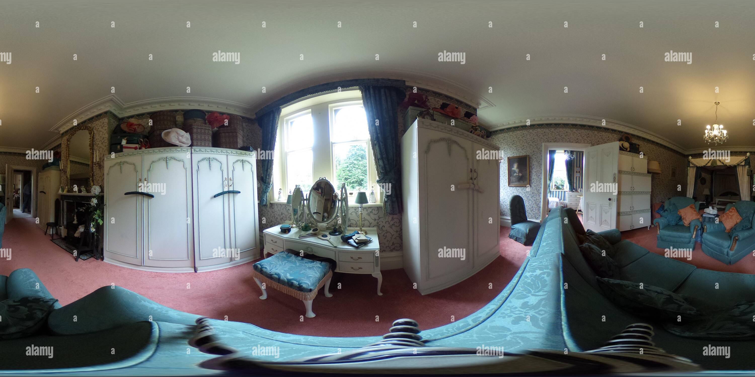 Interior panoramic photo at Abbey Cwm Hir Hall - Stock Image