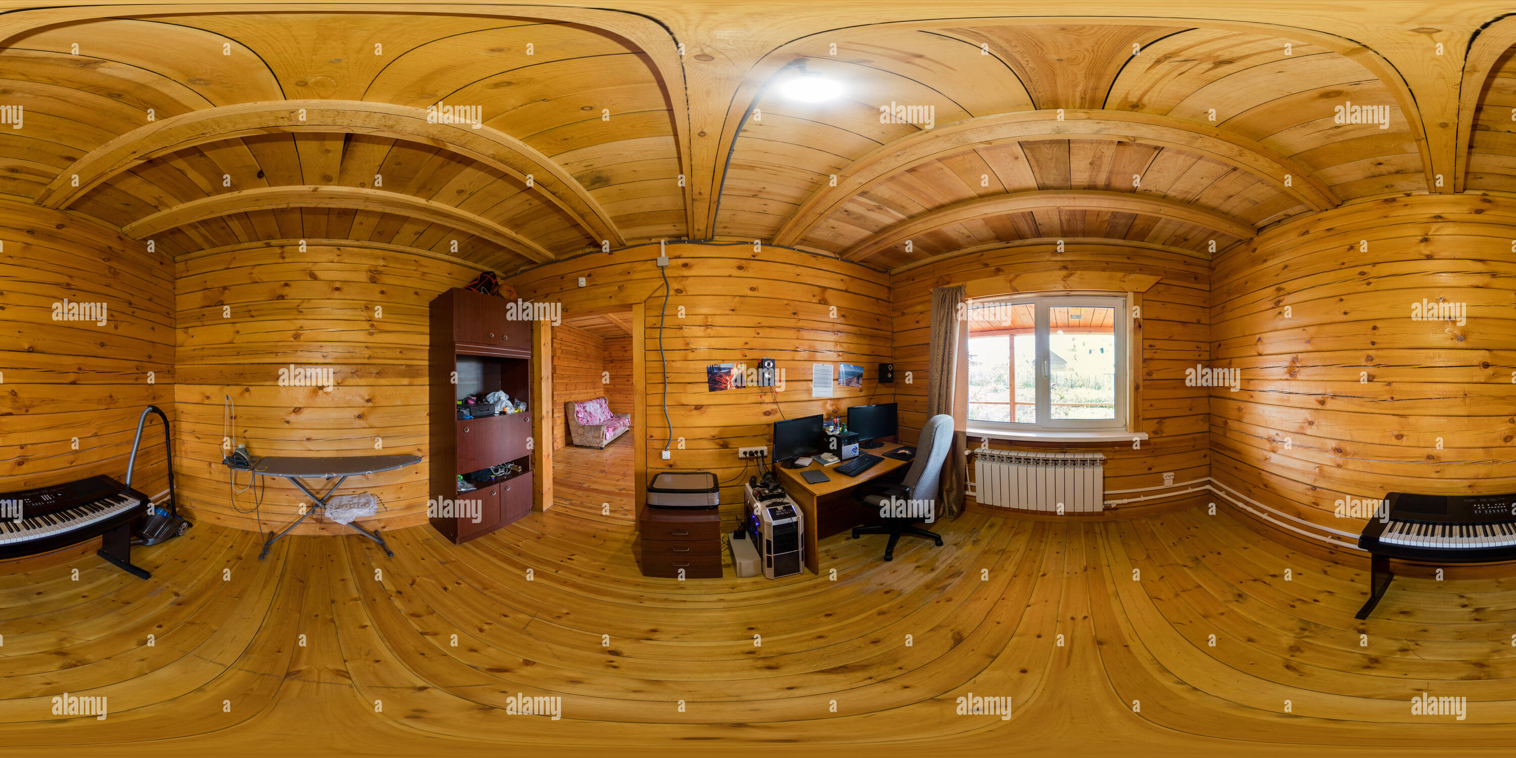 360 View Of Interior Of A Nursery In A Wooden House Of