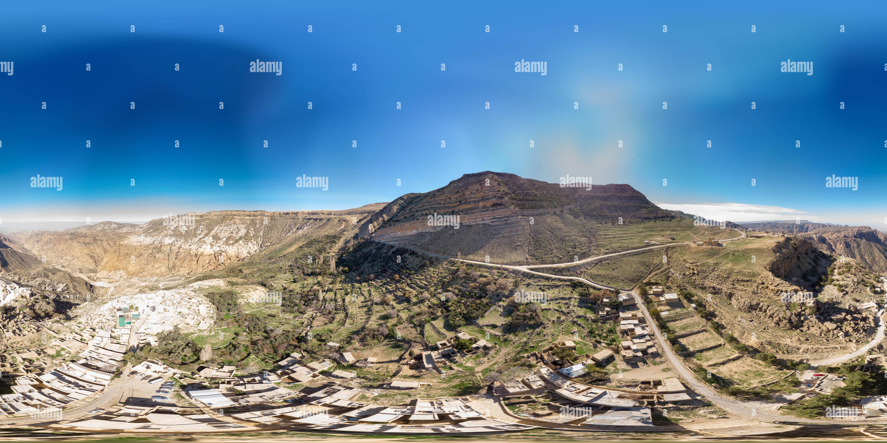 Spherical 360 degree panorama from the edge of the village Dana at Dana Nature Reserve, Jordan, taken with the drone from the air. - Stock Image