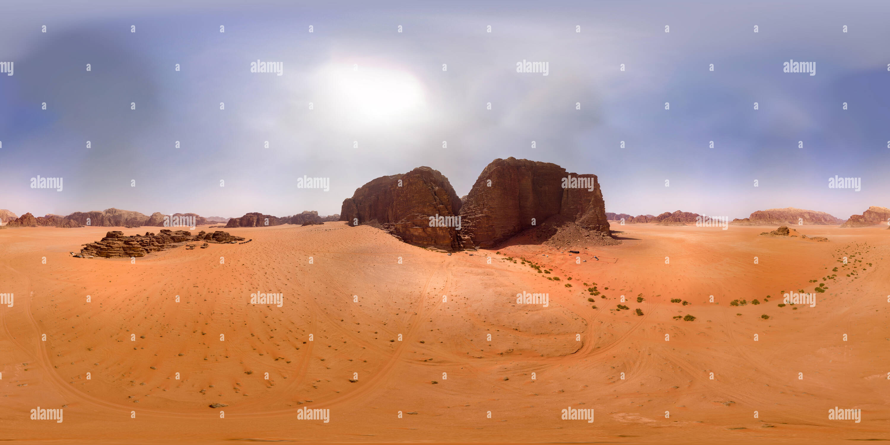 Spherical 360 degree panorama of a high monolith in the desert Wadi Rum, Jordan, taken with the drone - Stock Image