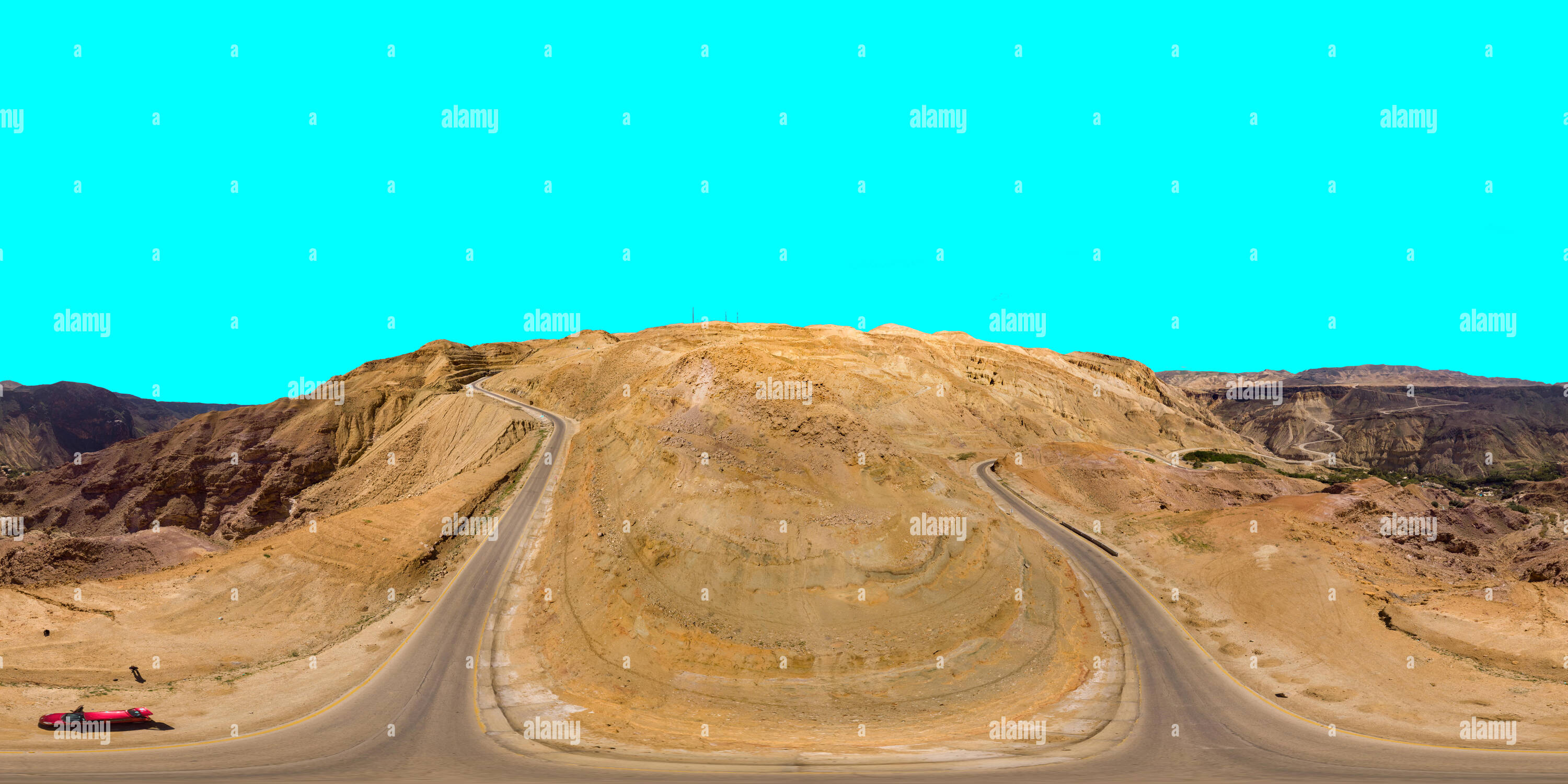 Aerial view from the main road along the Dead Sea, taken with the drone close to the rocks of the ascending mountains, 360 gegree panorama image with  - Stock Image