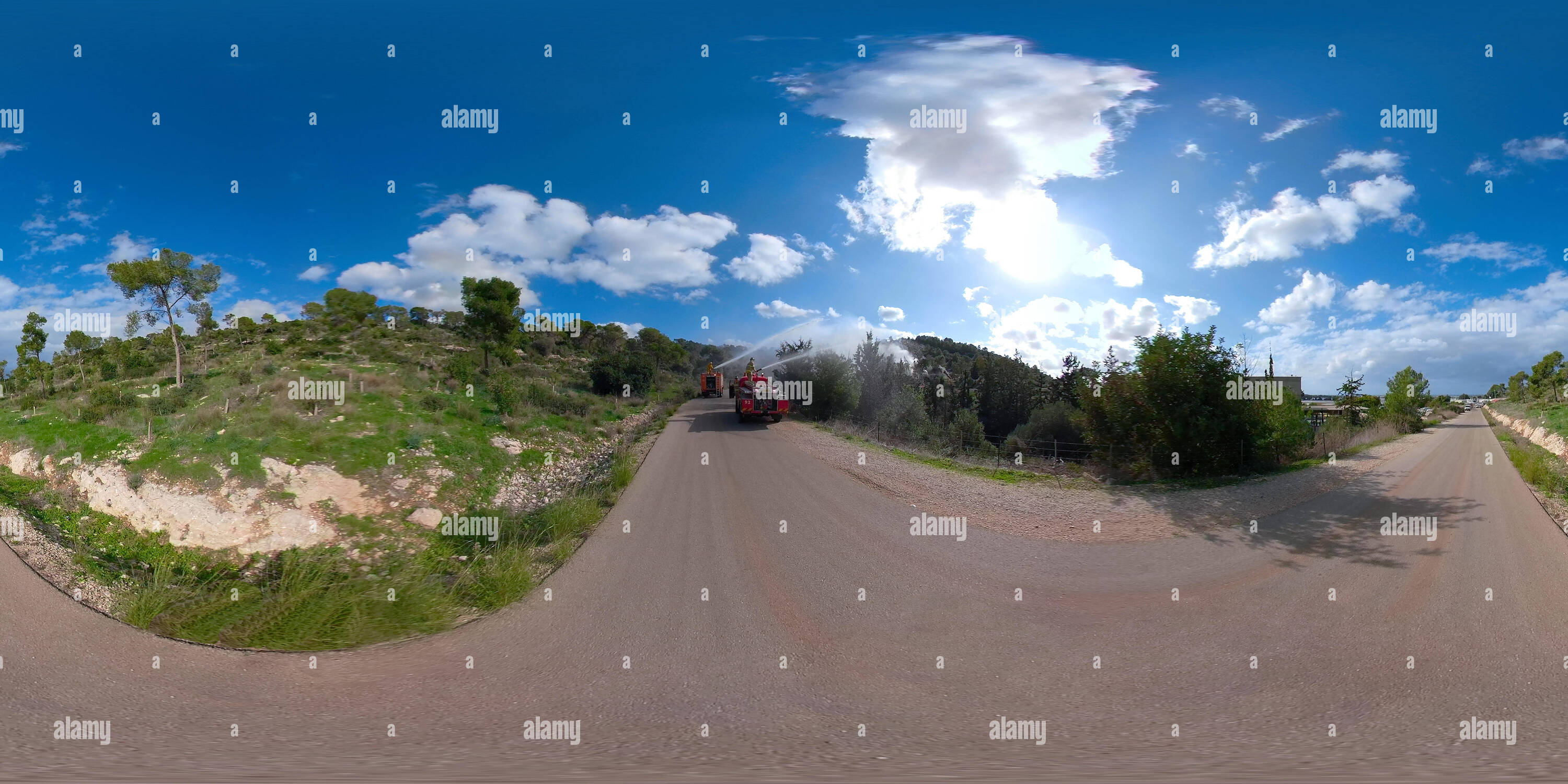 360 degree panoramic view of Fire engines spraying water to a fire zone in Mt. Carmel, Israel, 360 degree photo panorama VR