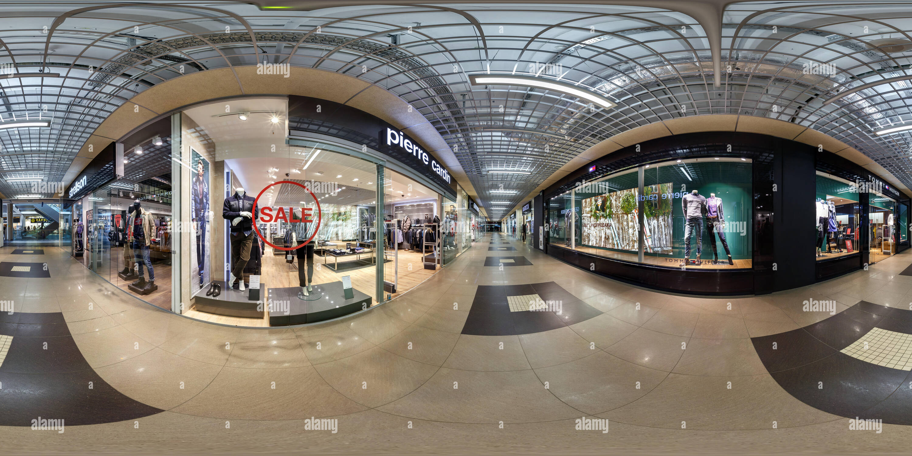 MINSK, BELARUS - MARCH 4, 2015: Panorama in interior modern trade center with different stories and shops.  Full 360 by 180 degree seamless spherical  - Stock Image