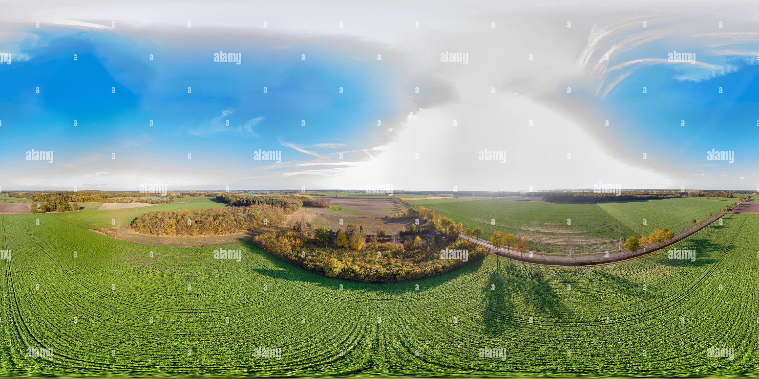 Panoramic view over a flat agricultural area in northern Germany with a small forest in the background. - Stock Image