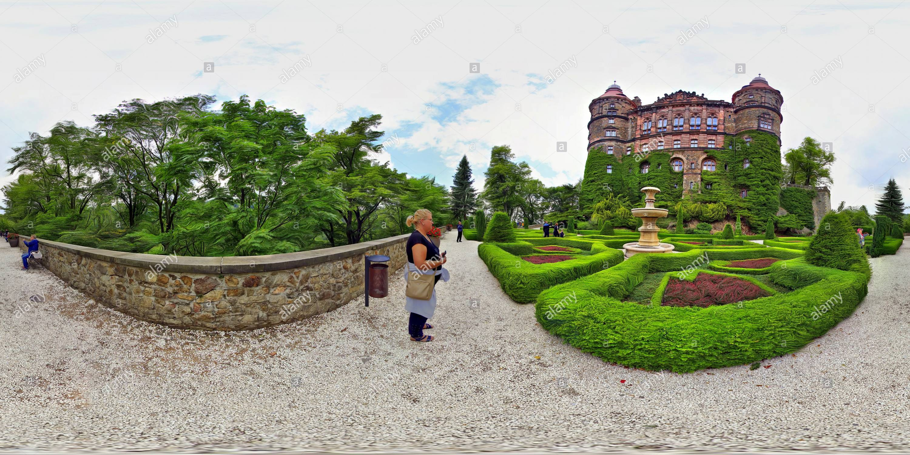 Ksiaz Castle , View from West - Stock Image