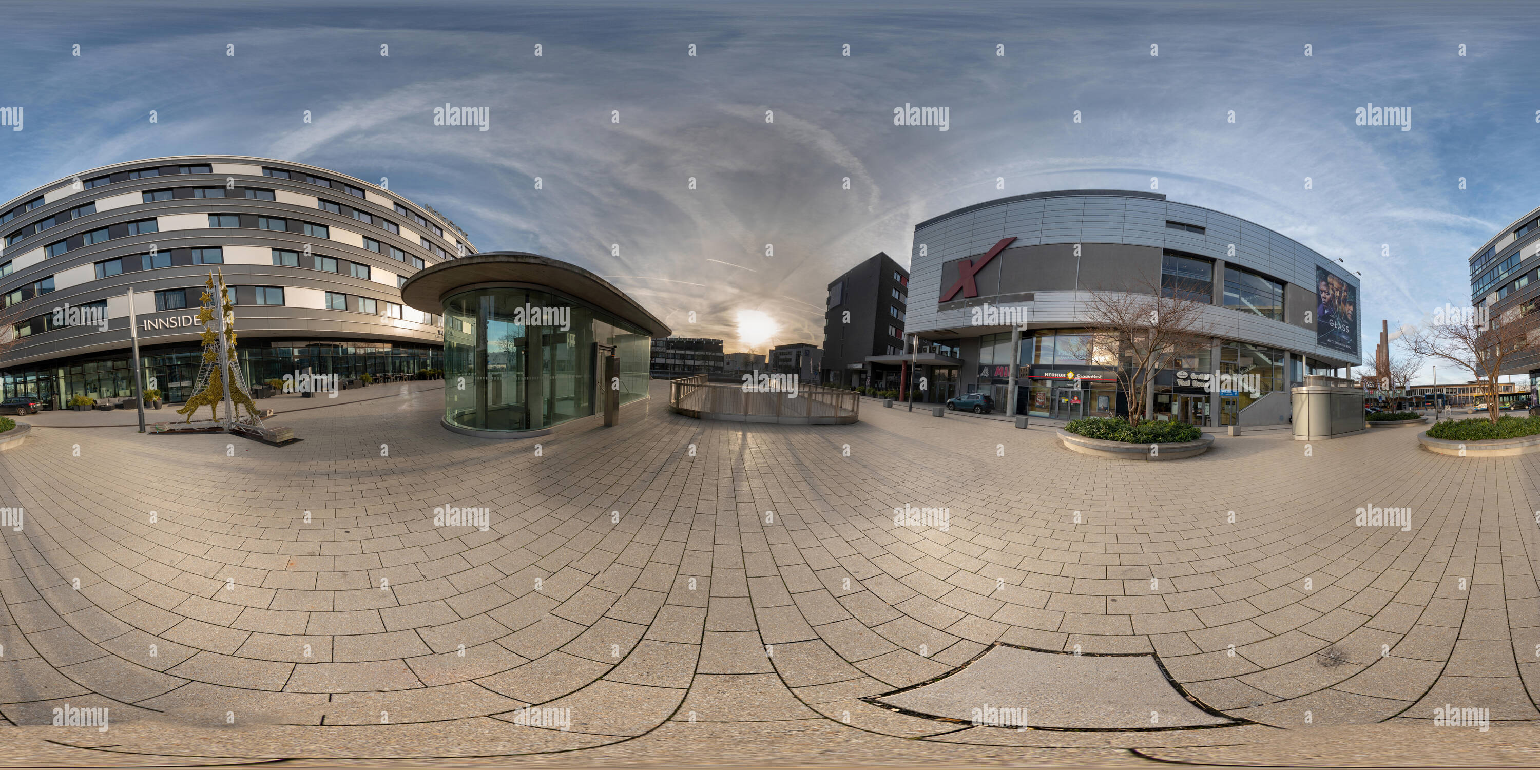 Wolfsburg, Germany, January 3., 2019: Ball panorama from the northern end of the shopping street of Wolfsburg shortly before the train station - Stock Image