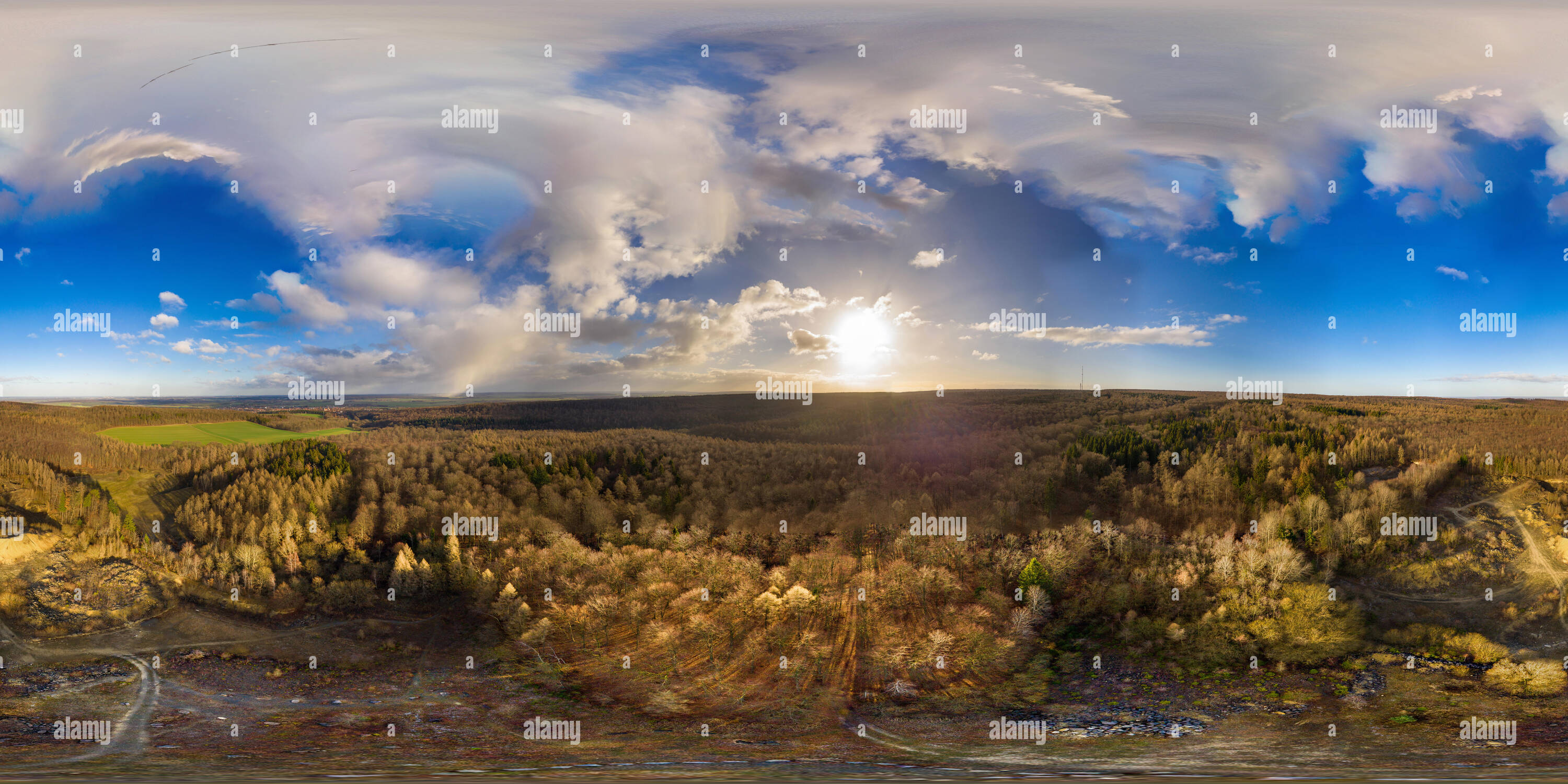 360 degree landscape of aerial views above a forest in north germany - Stock Image
