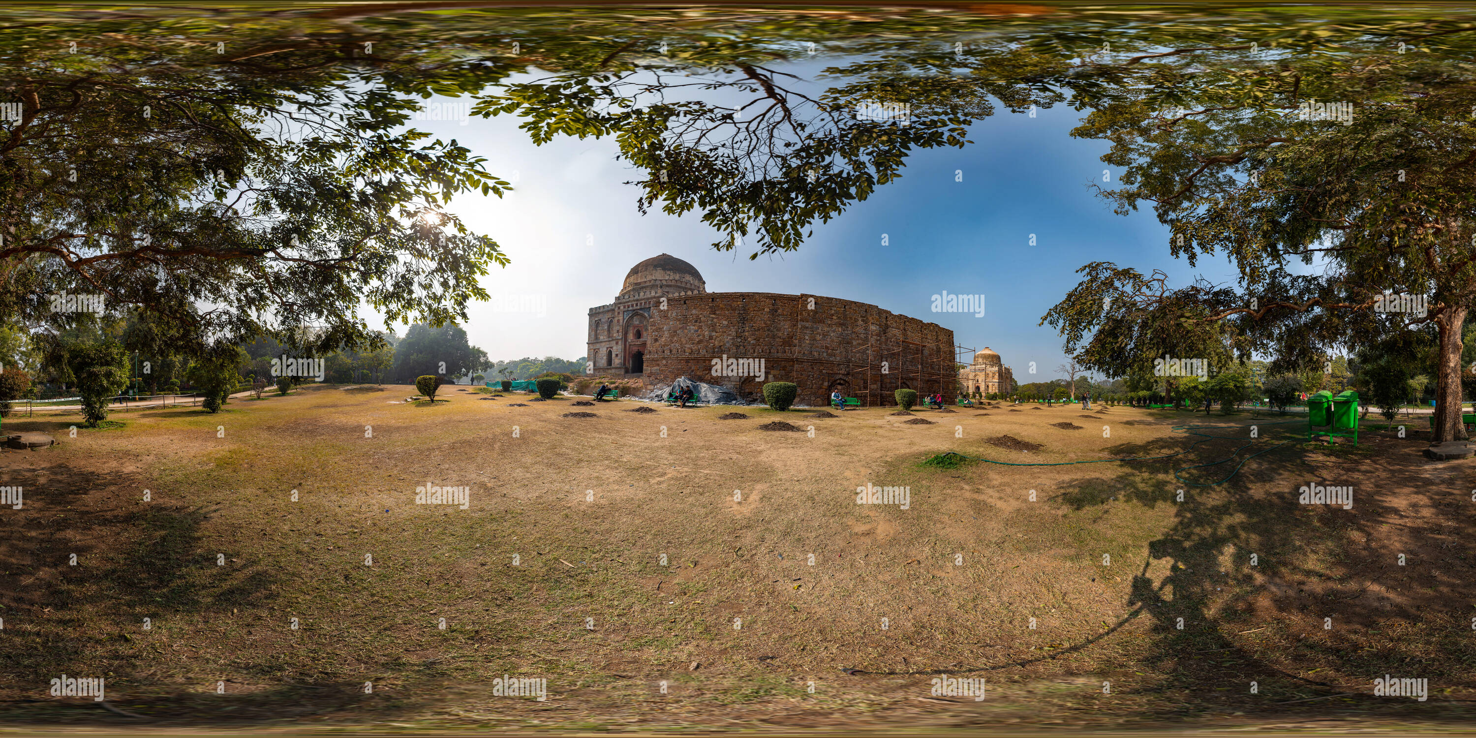 360 degree panoramic view of 360 View in Lodi Gardens in New Delhi, India. Visible in this view is Bara Gumbad (Big Tomb) with Sheesh Gumbad slightly further towards the right.