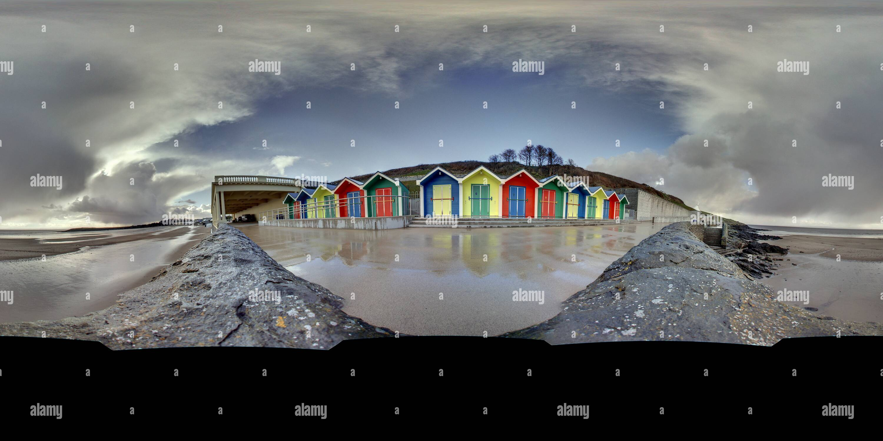 Beach Huts, Barry, S. Wales - Stock Image