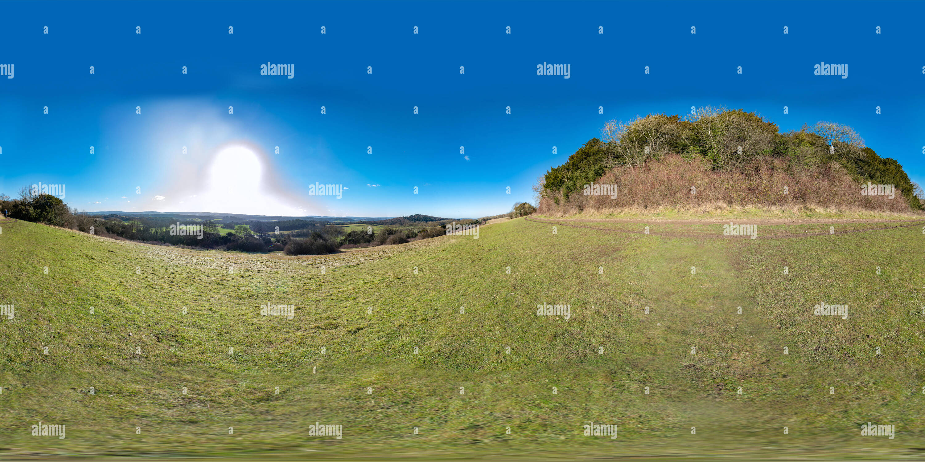360 degree panoramic view of Views of the Surrey Hills from Newlands Corner on a sunny wintery afternoon.