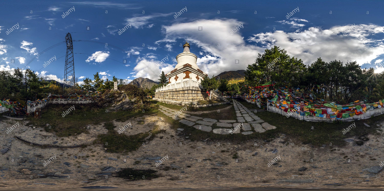 White Pagoda @ Pao Ma Mt(康定跑馬山凌雲白塔), Kangding, Ganzi, Sichuan, CN. - Stock Image