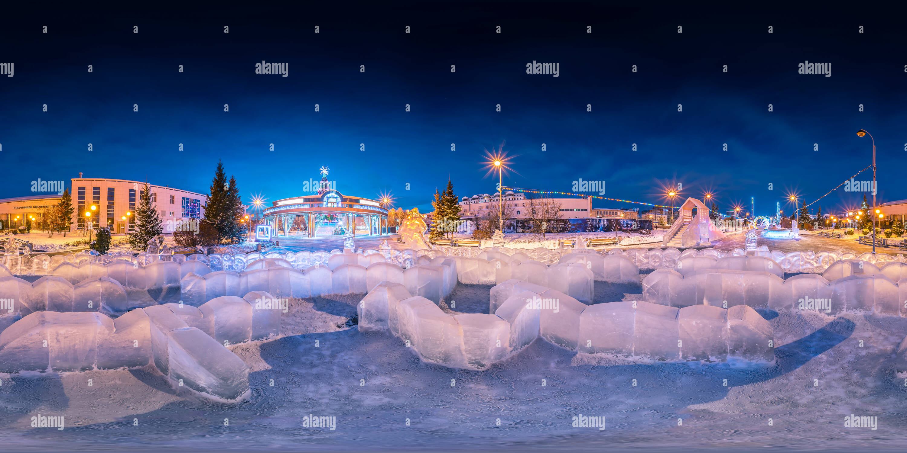 Ice town on the Tsvetnoy boulevard | Ice labyrinth - Stock Image