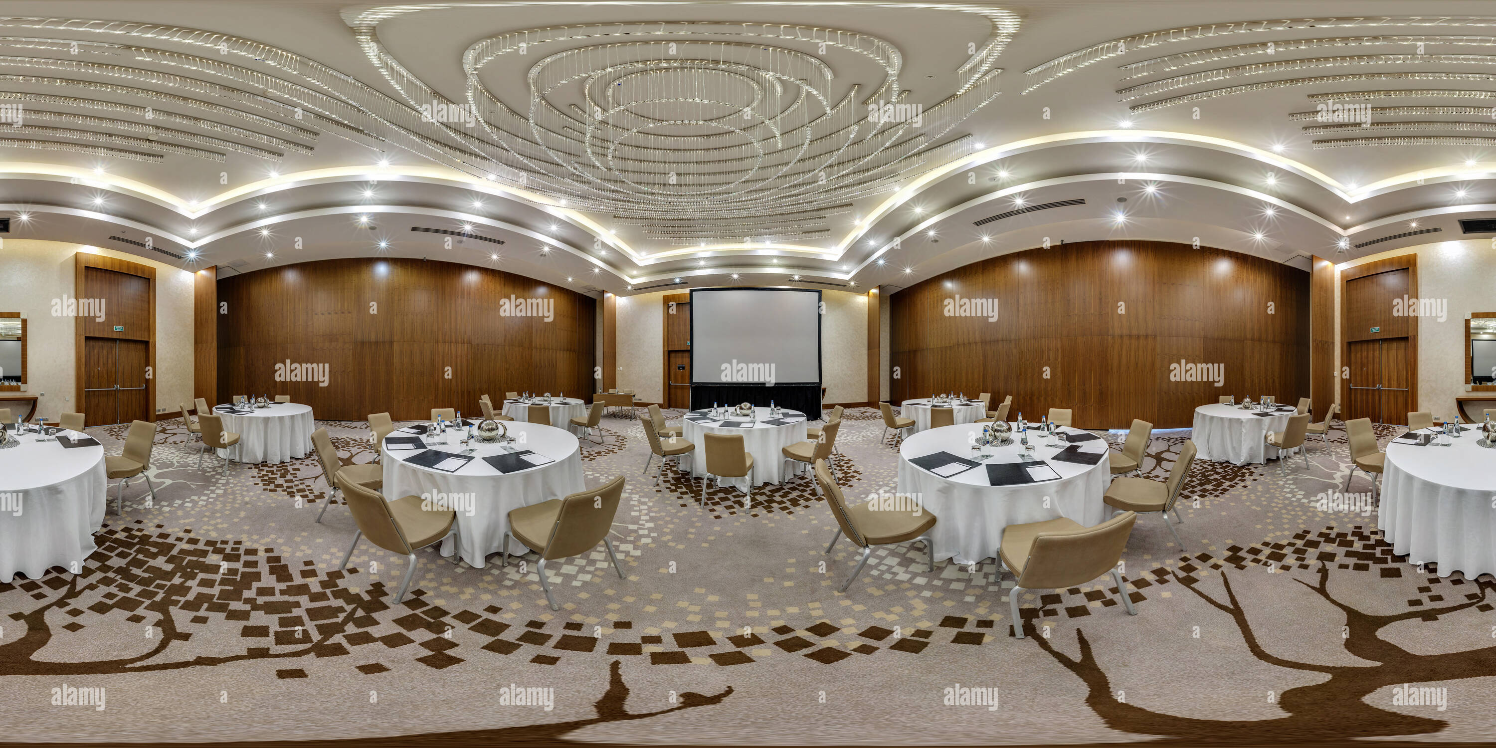 360 View Of Minsk Belarus August 2017 Full Panorama 360 Angle View Seamless Inside Interior Of Large Banquet Hall In Modern Hotel In Equirectangular Spherica Alamy