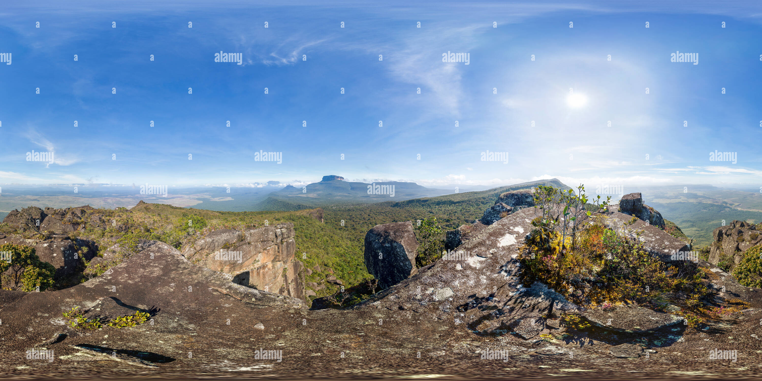 Panoramic view from Sororo Pan mountain on a sunny day, in Canaima National Park, Venezuela - Stock Image