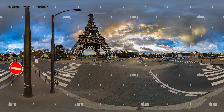 Eiffel Tower at Quai Branly - Tour Eiffel - Paris - France - Stock Image
