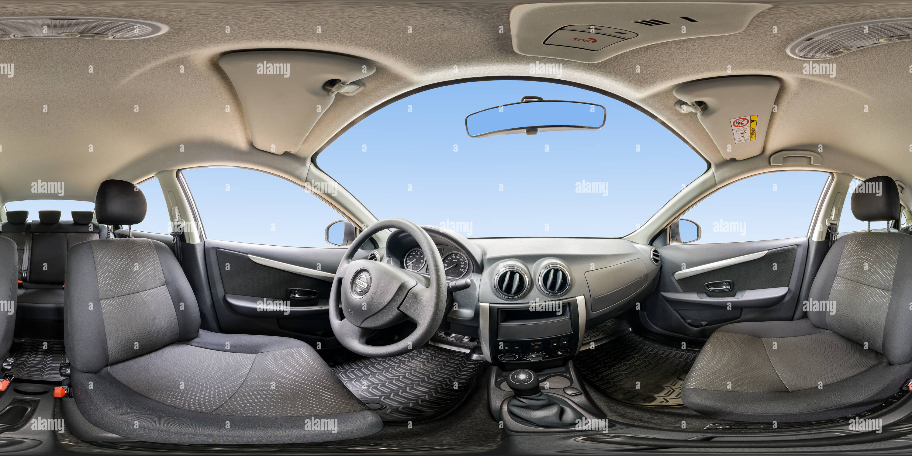360 View of Inside of Nissan Almera 243746180 - Alamy