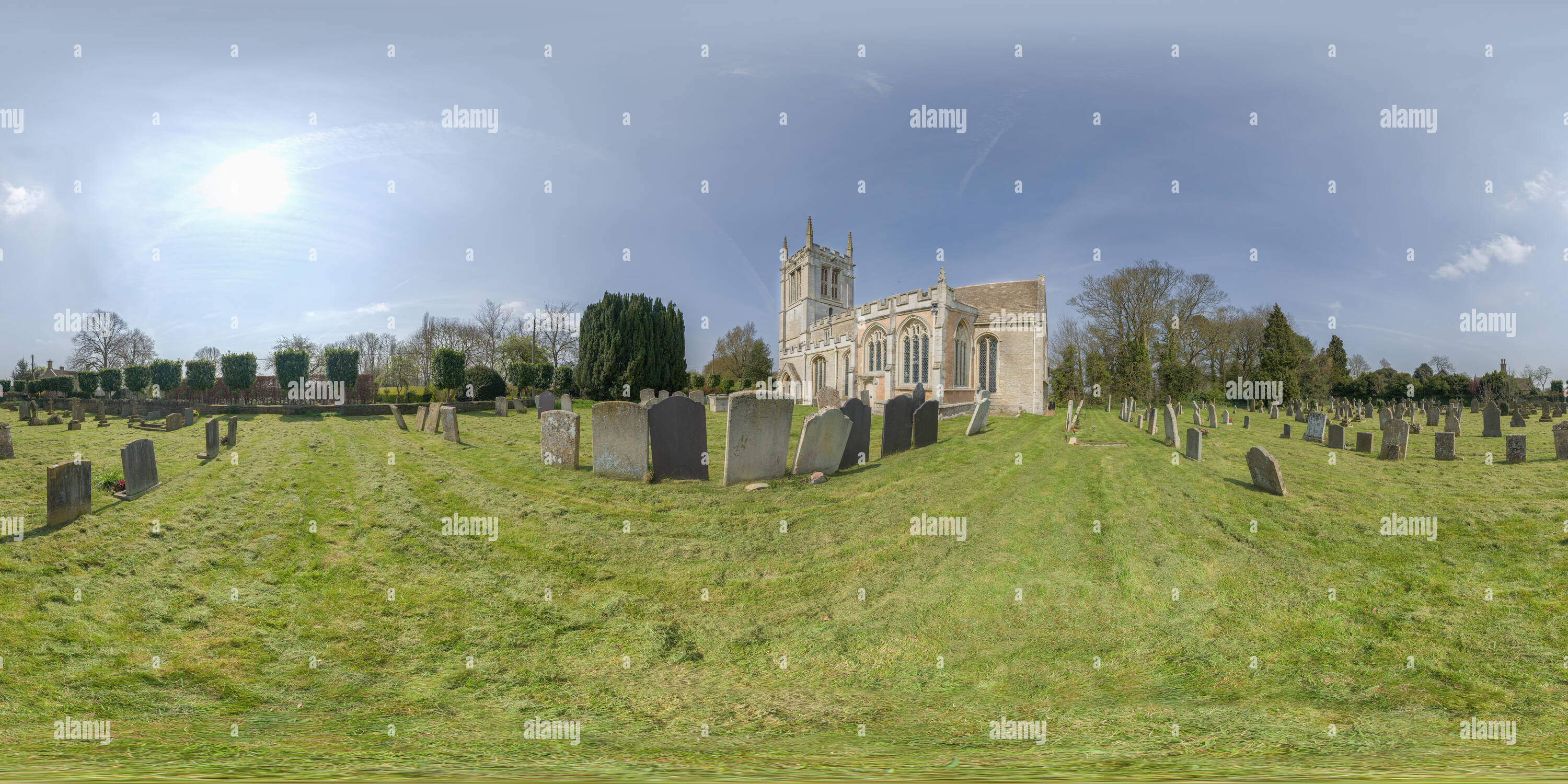 360 degree panoramic view of Started in the thirteenth century, the village medieval church at Aldwincle, now redundant and bare, was where the poet John Dryden was baptised.