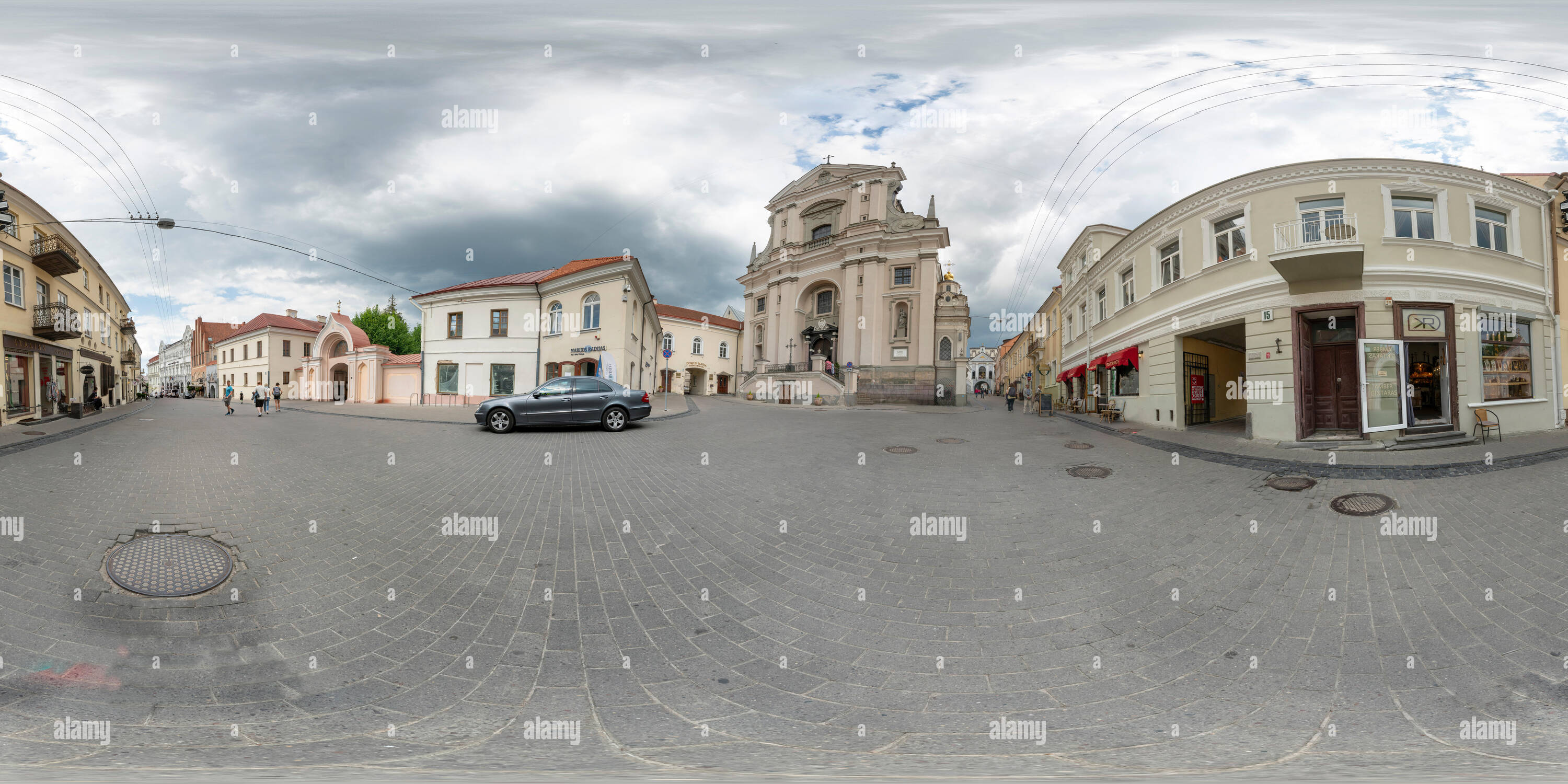 Vilnius, Lithuania. May 2019.  360 panoramic view of the Church of St Theresa and the Aurora Gate - Stock Image