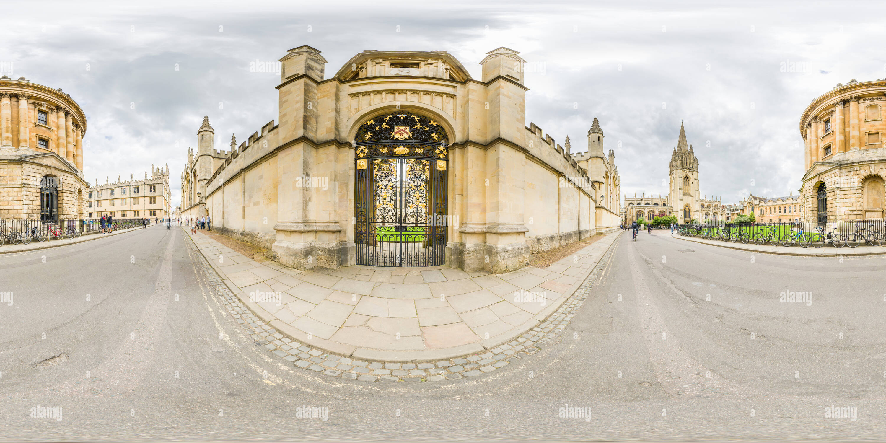 Side entrance and exterior facade of All Souls college, Oxford university, opposite the Radcliffe Camera and the Bodliean library, and next to St Mary - Stock Image