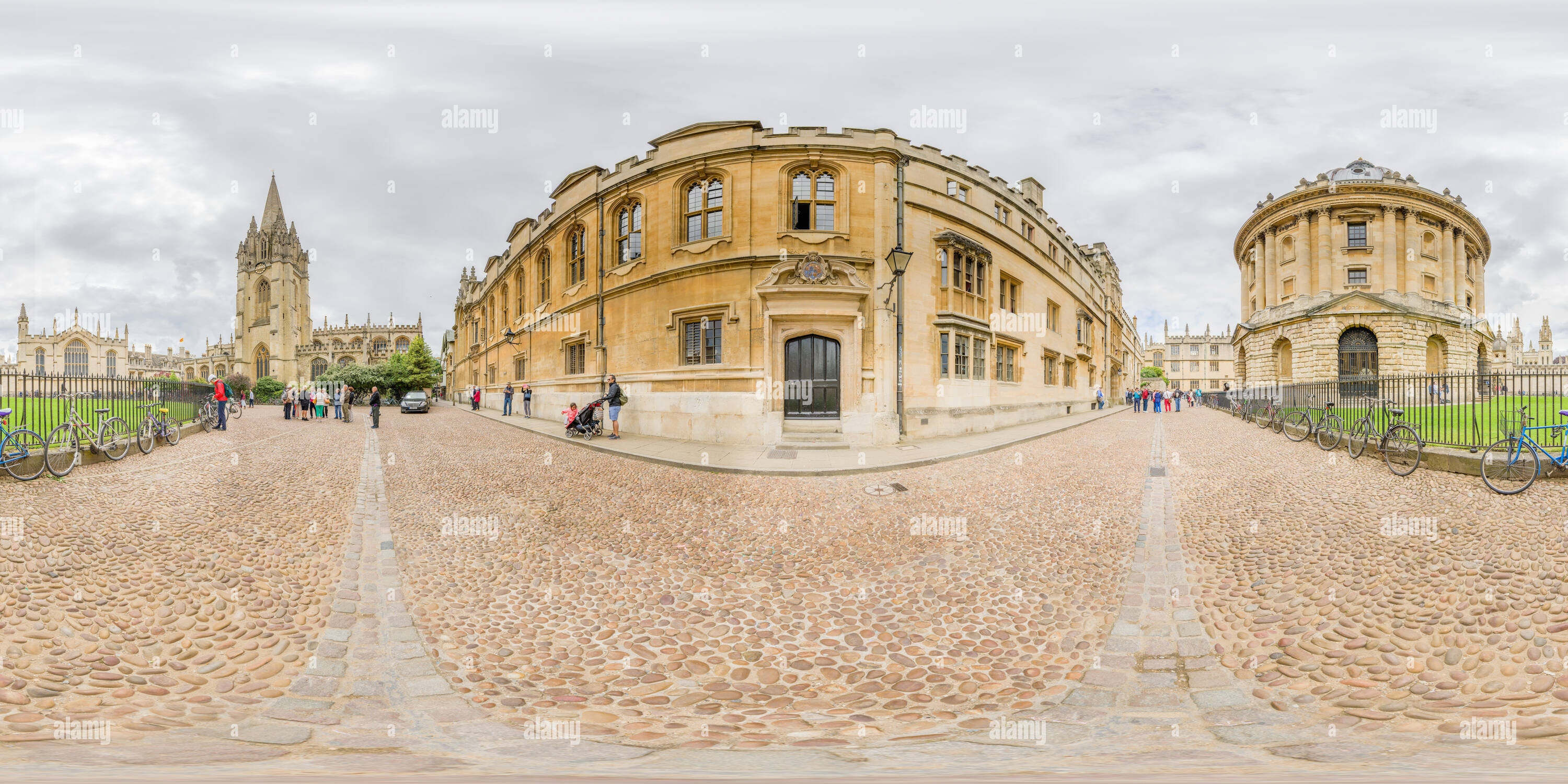 Side entrance of Brasenose college, Oxford university, opposite the Radcliffe Camera and the Bodliean library, and next to St Mary the Virgin church. - Stock Image